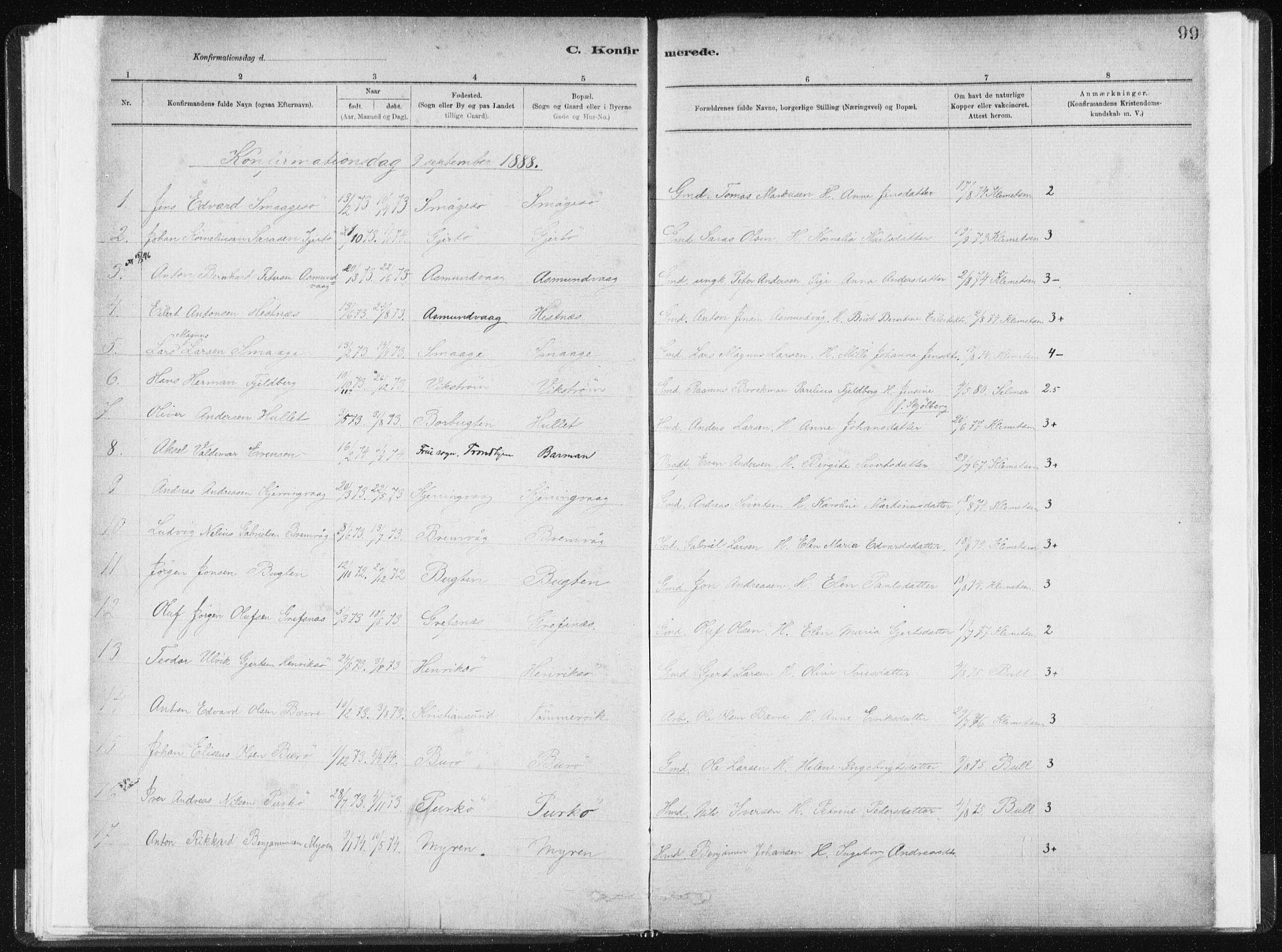 SAT, Ministerialprotokoller, klokkerbøker og fødselsregistre - Sør-Trøndelag, 634/L0533: Ministerialbok nr. 634A09, 1882-1901, s. 99