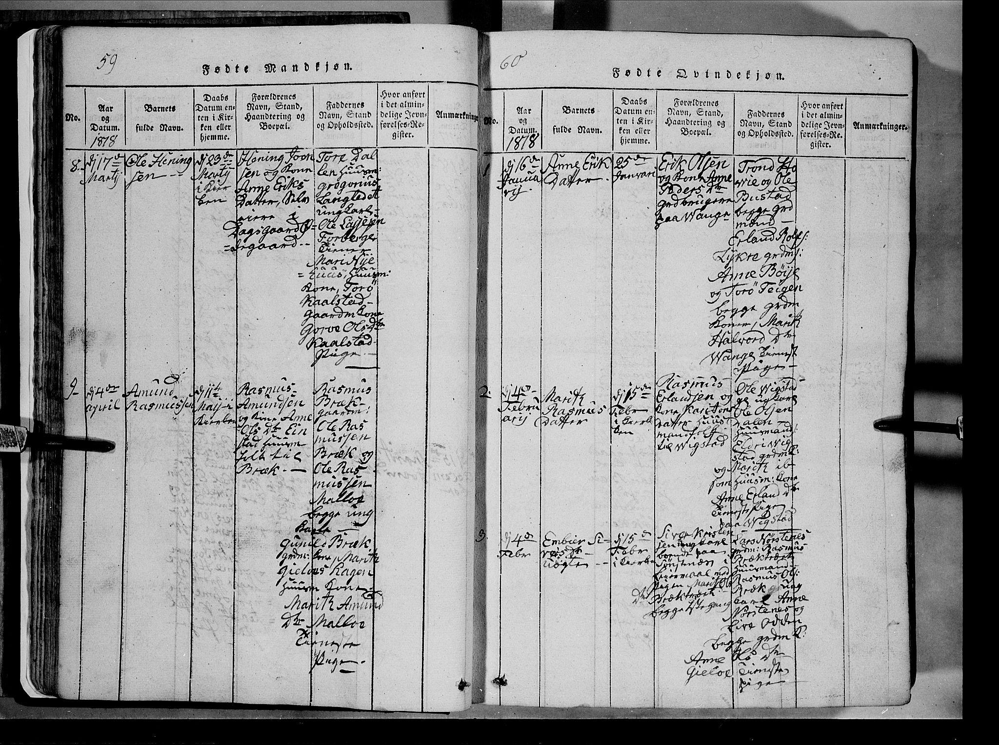 SAH, Lom prestekontor, L/L0003: Klokkerbok nr. 3, 1815-1844, s. 59-60