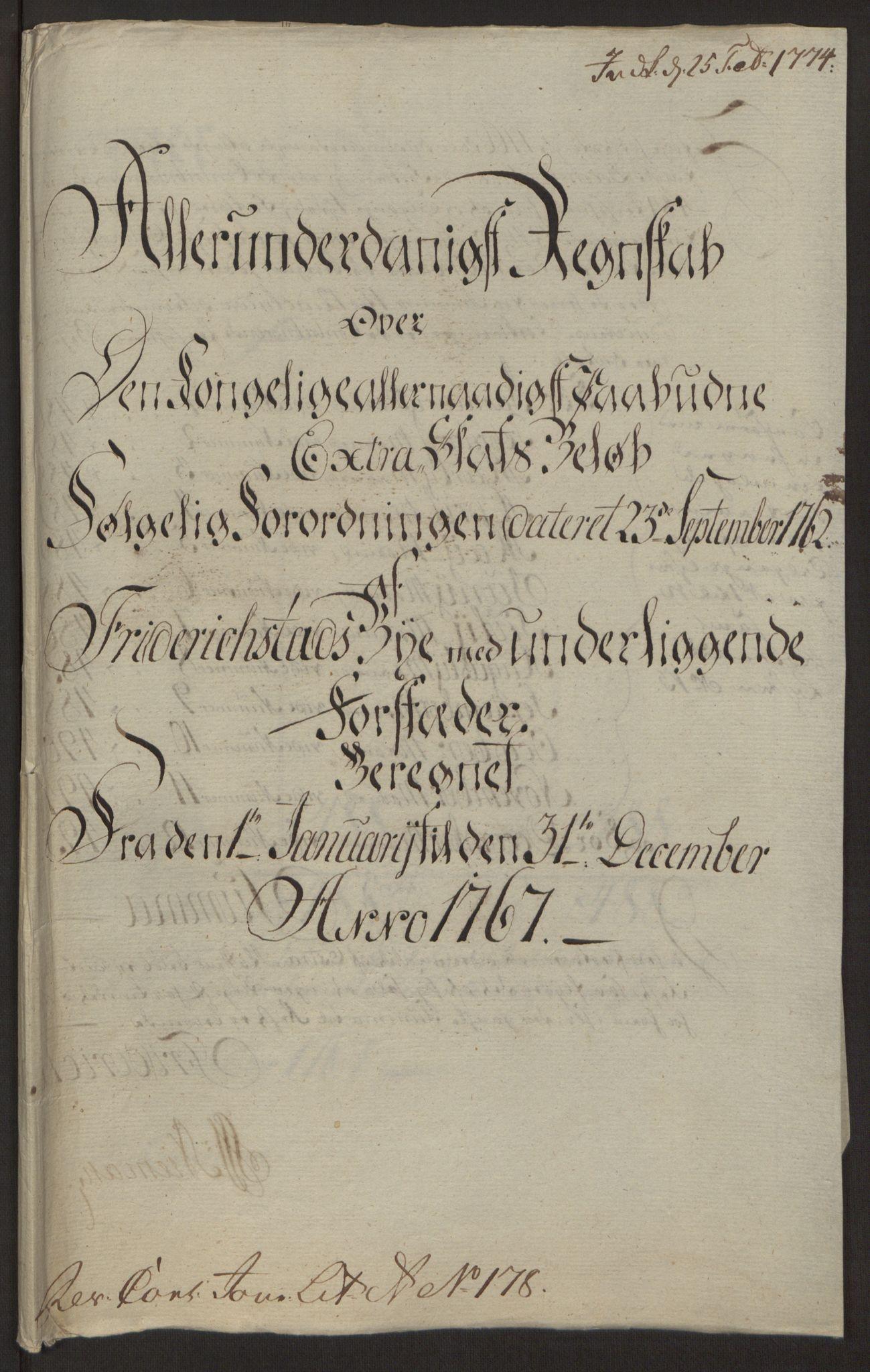 RA, Rentekammeret inntil 1814, Reviderte regnskaper, Byregnskaper, R/Rb/L0029: [B3] Kontribusjonsregnskap, 1762-1772, s. 243