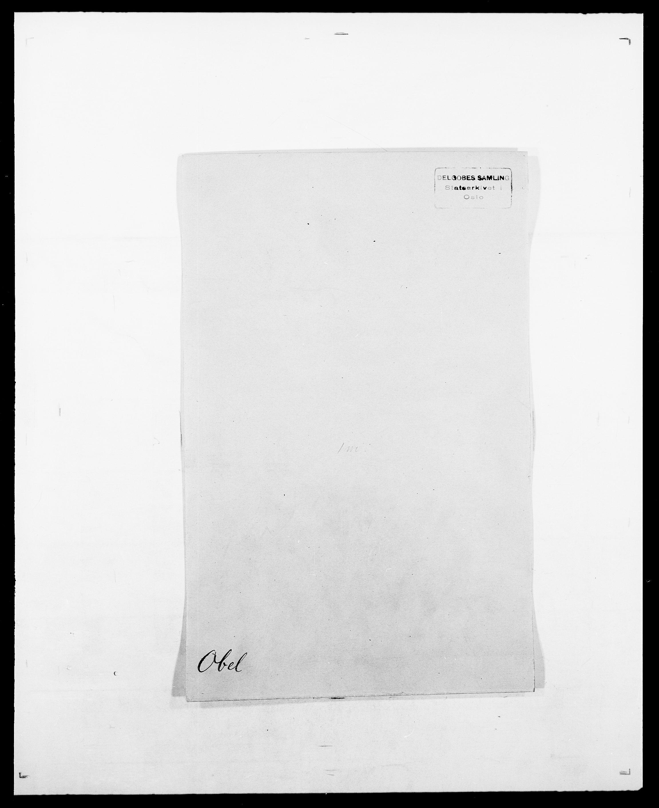 SAO, Delgobe, Charles Antoine - samling, D/Da/L0029: Obel - Oxholm, s. 1