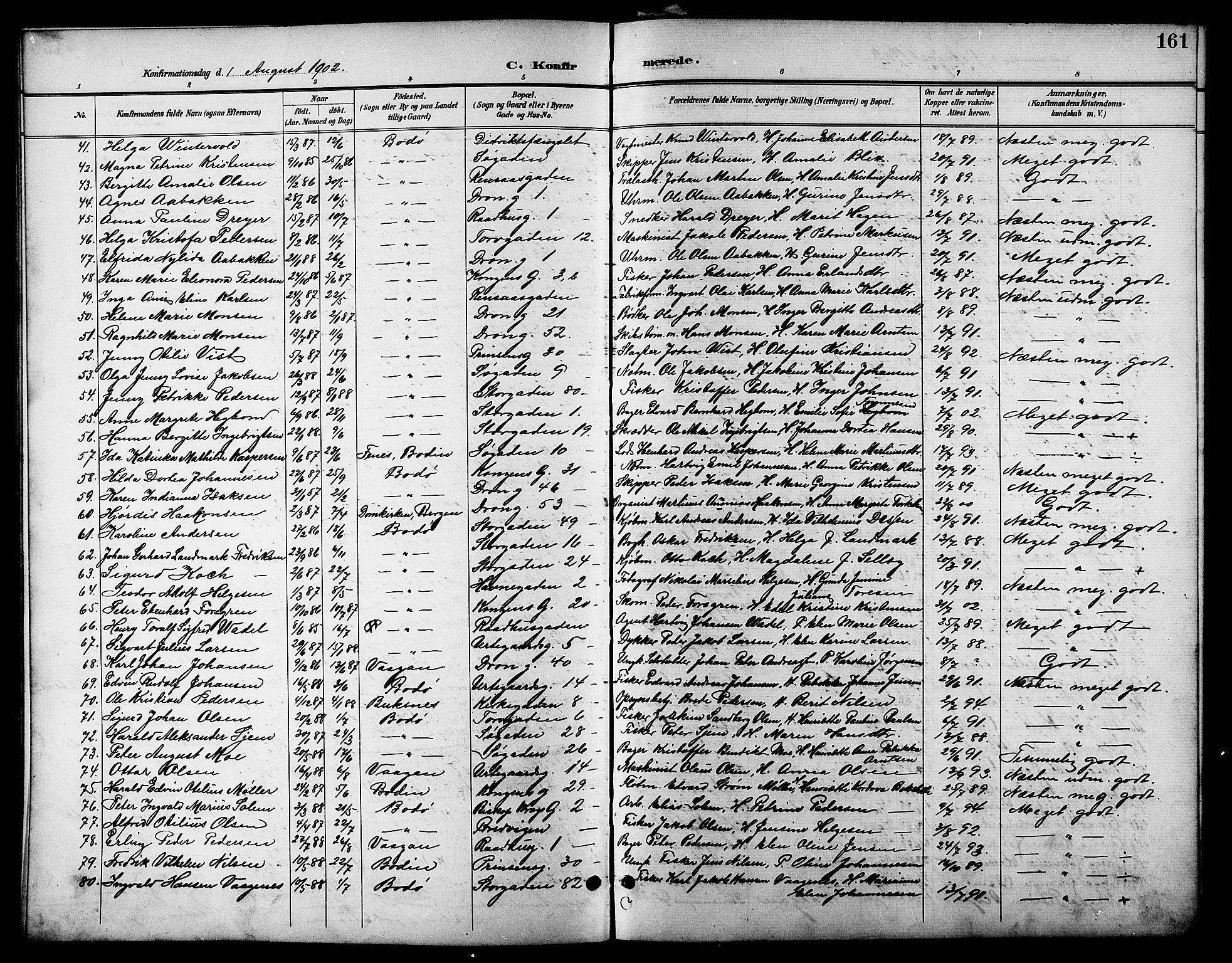 SAT, Ministerialprotokoller, klokkerbøker og fødselsregistre - Nordland, 801/L0033: Klokkerbok nr. 801C08, 1898-1910, s. 161