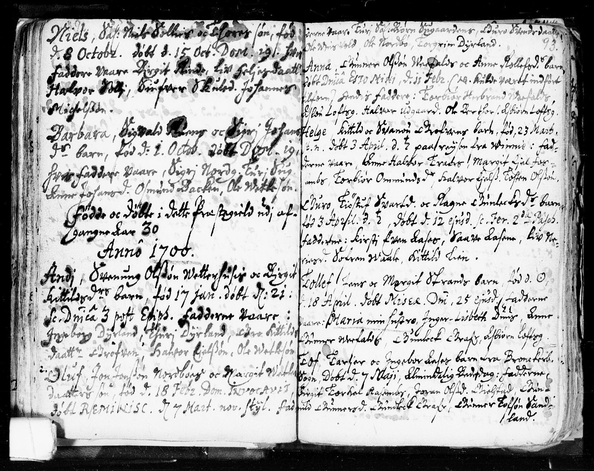 SAKO, Seljord kirkebøker, F/Fa/L0002: Ministerialbok nr. I 2, 1689-1713, s. 92-93