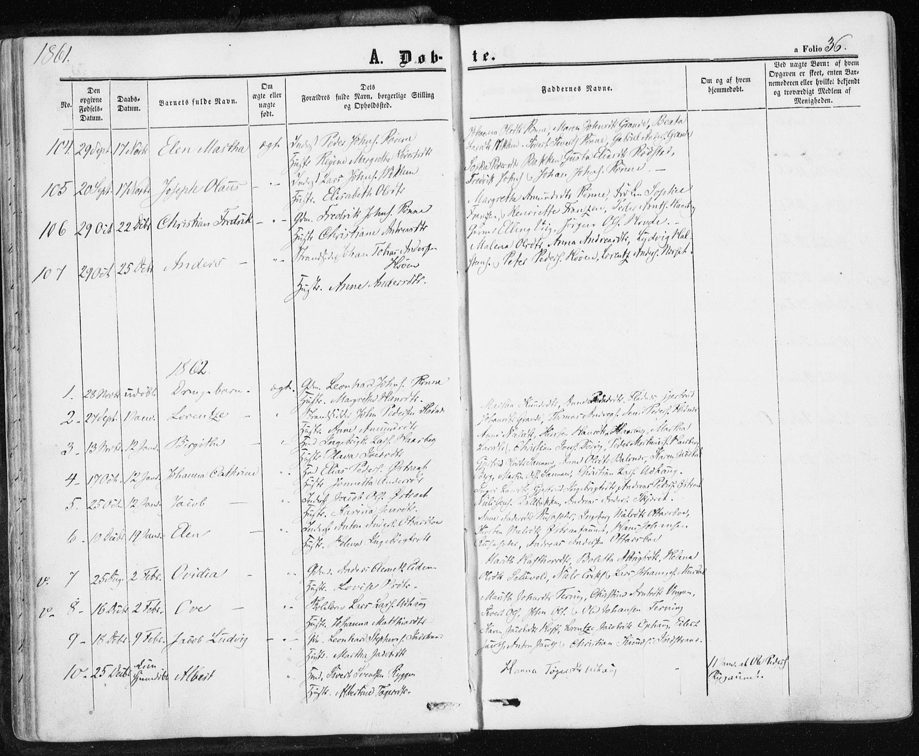 SAT, Ministerialprotokoller, klokkerbøker og fødselsregistre - Sør-Trøndelag, 659/L0737: Ministerialbok nr. 659A07, 1857-1875, s. 36