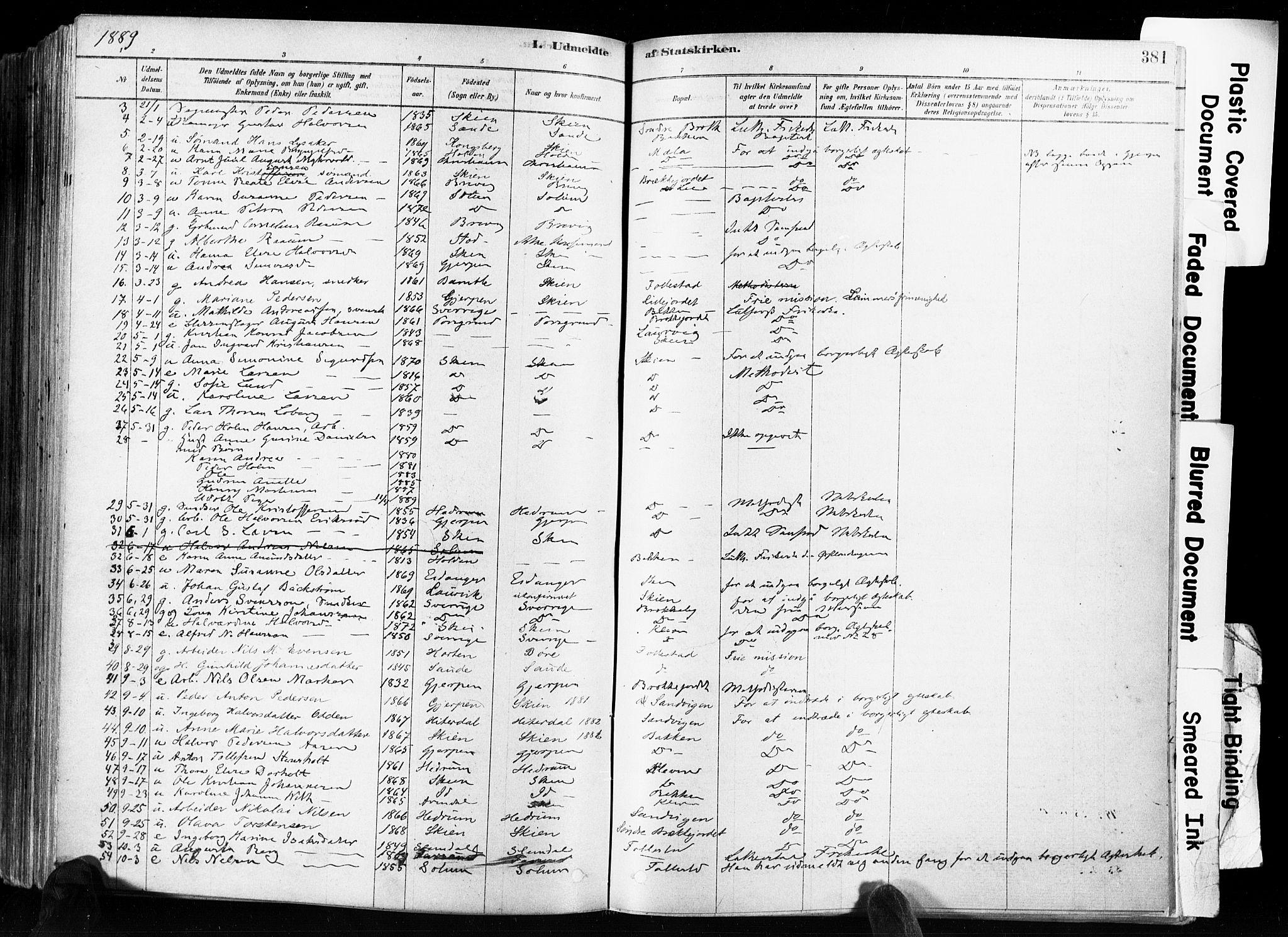 SAKO, Skien kirkebøker, F/Fa/L0009: Ministerialbok nr. 9, 1878-1890, s. 381