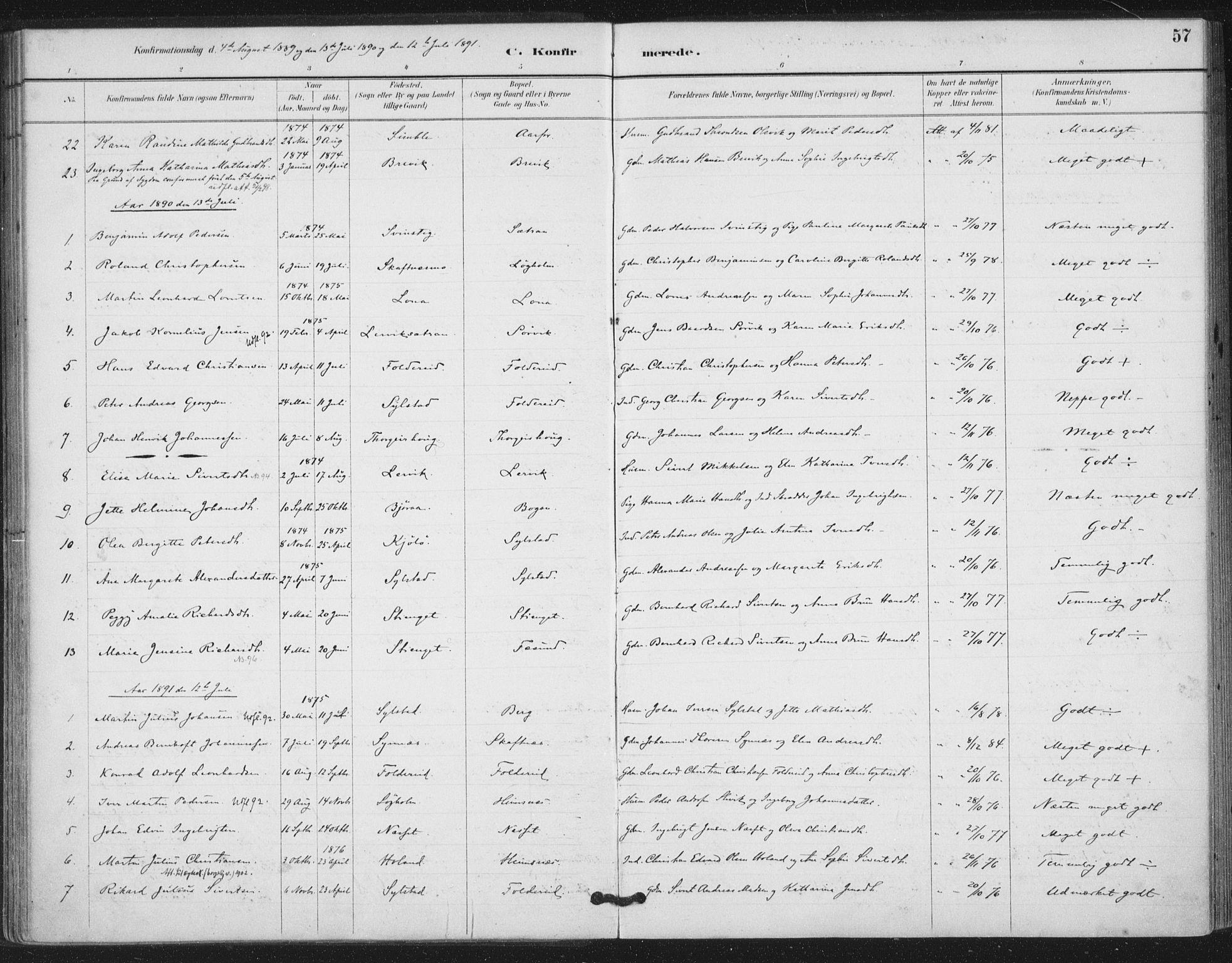 SAT, Ministerialprotokoller, klokkerbøker og fødselsregistre - Nord-Trøndelag, 783/L0660: Ministerialbok nr. 783A02, 1886-1918, s. 57