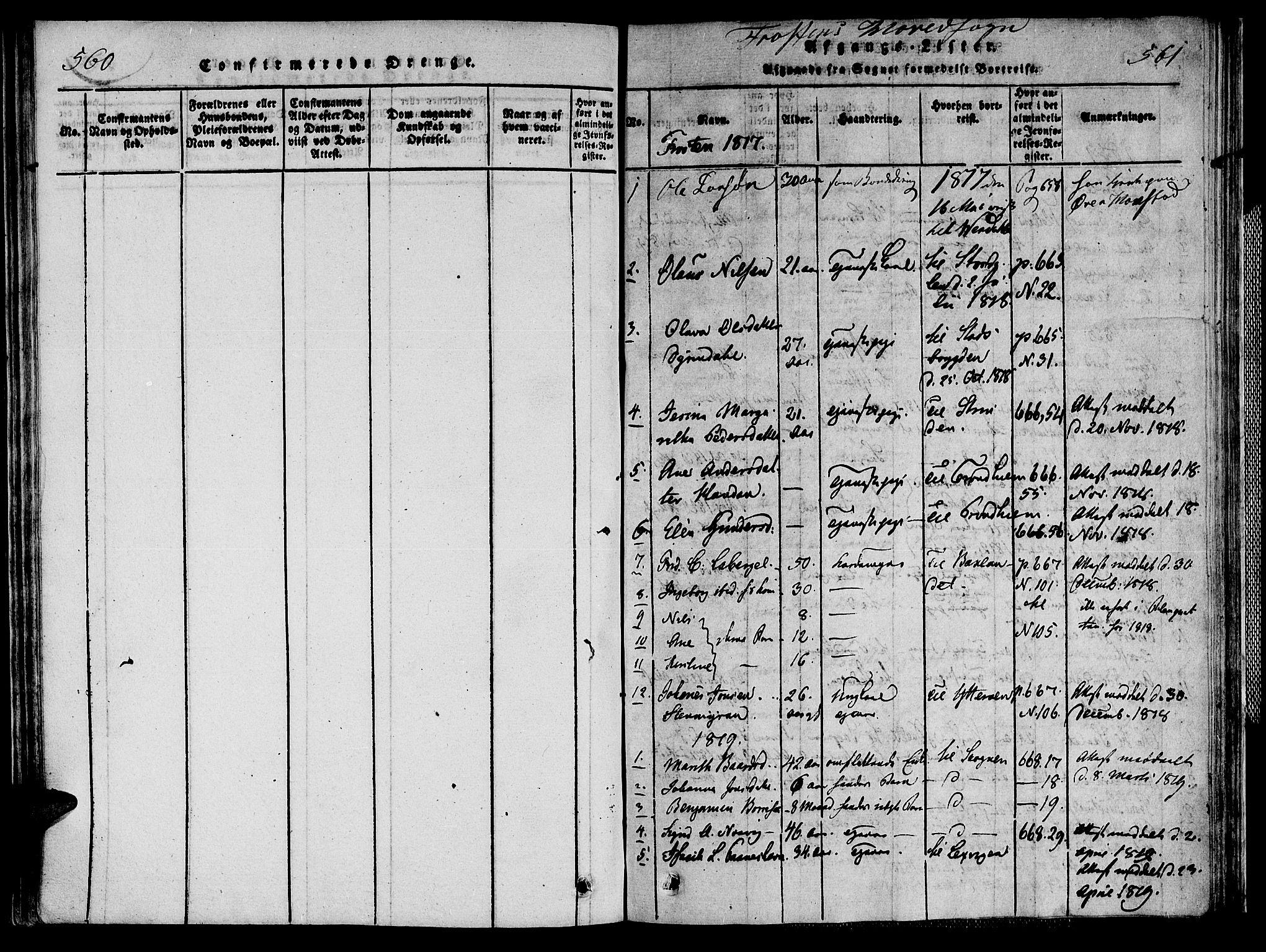 SAT, Ministerialprotokoller, klokkerbøker og fødselsregistre - Nord-Trøndelag, 713/L0112: Ministerialbok nr. 713A04 /1, 1817-1827, s. 560-561