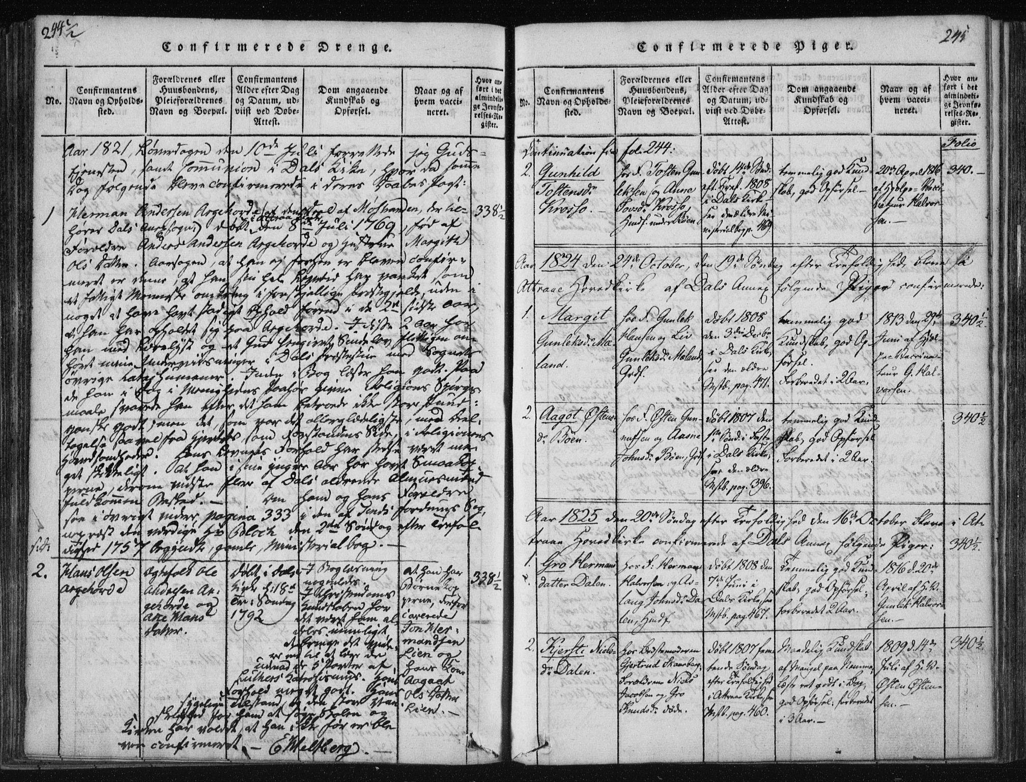 SAKO, Tinn kirkebøker, F/Fc/L0001: Ministerialbok nr. III 1, 1815-1843, s. 245