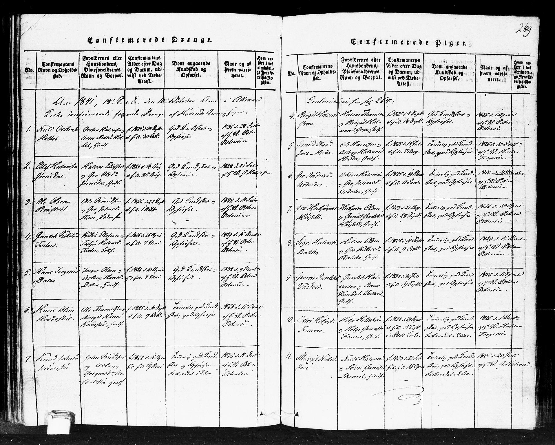SAKO, Gransherad kirkebøker, F/Fb/L0002: Ministerialbok nr. II 2, 1815-1843, s. 269