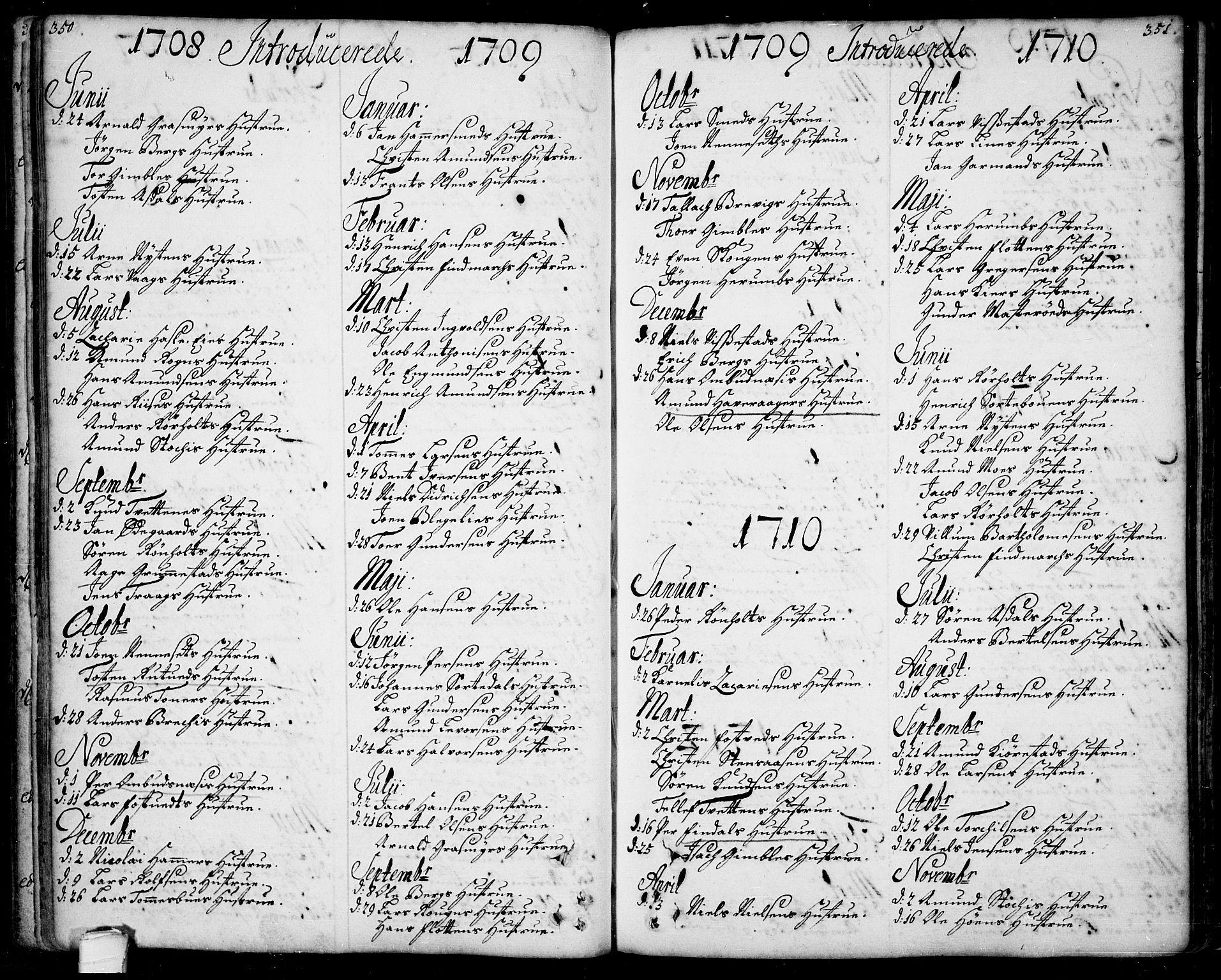 SAKO, Bamble kirkebøker, F/Fa/L0001: Ministerialbok nr. I 1, 1702-1774, s. 350-351