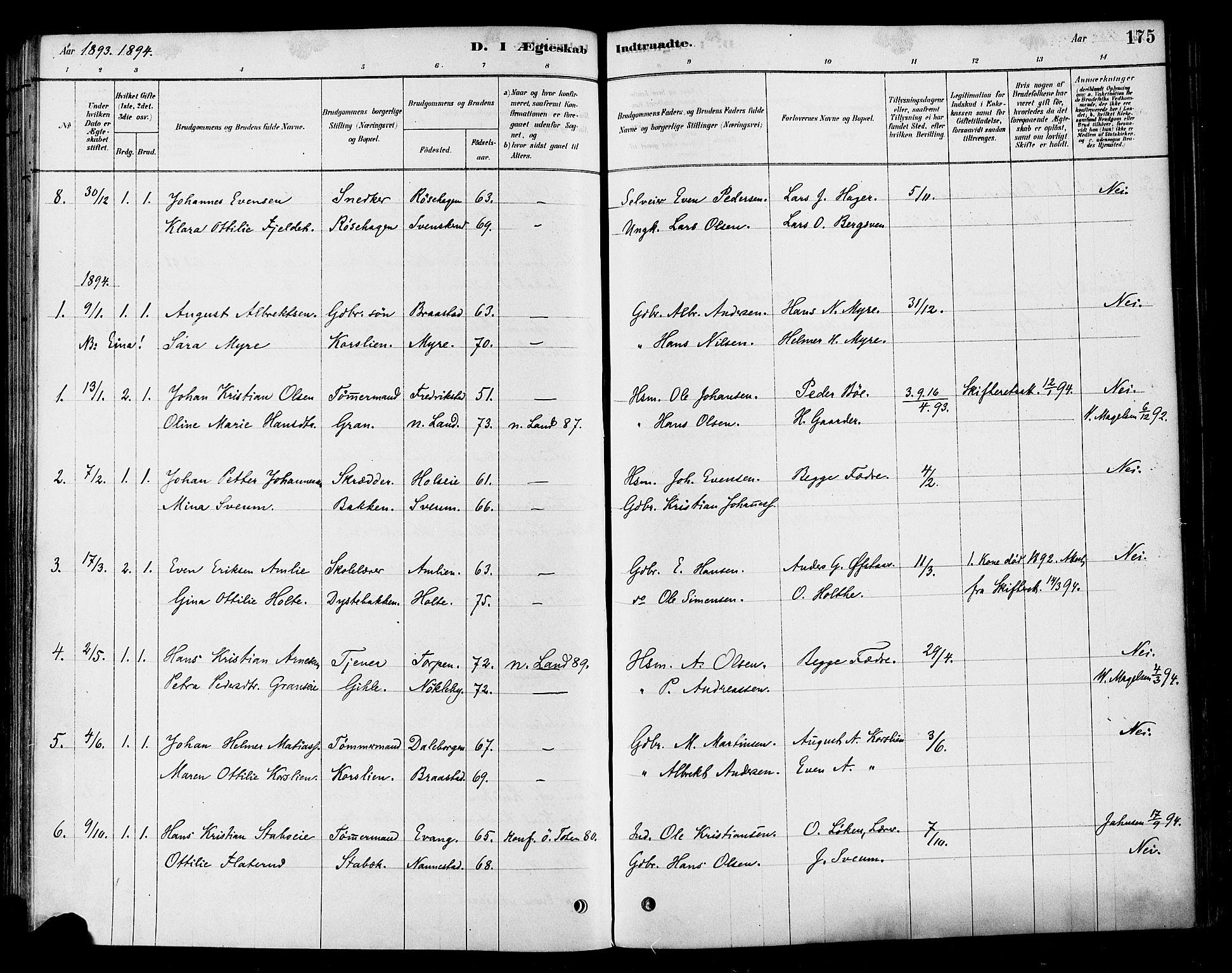 SAH, Vestre Toten prestekontor, H/Ha/Haa/L0010: Ministerialbok nr. 10, 1878-1894, s. 175