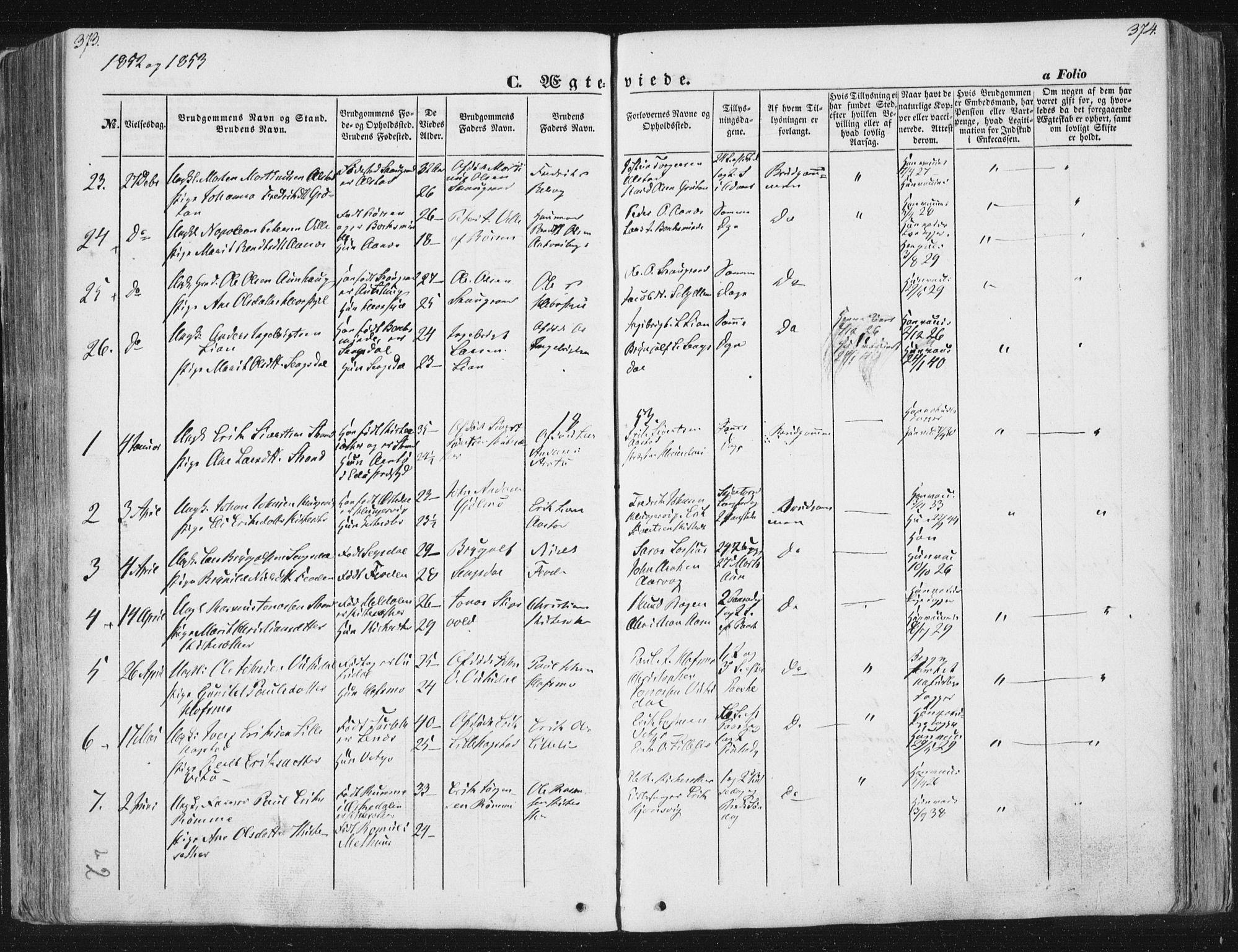 SAT, Ministerialprotokoller, klokkerbøker og fødselsregistre - Sør-Trøndelag, 630/L0494: Ministerialbok nr. 630A07, 1852-1868, s. 373-374