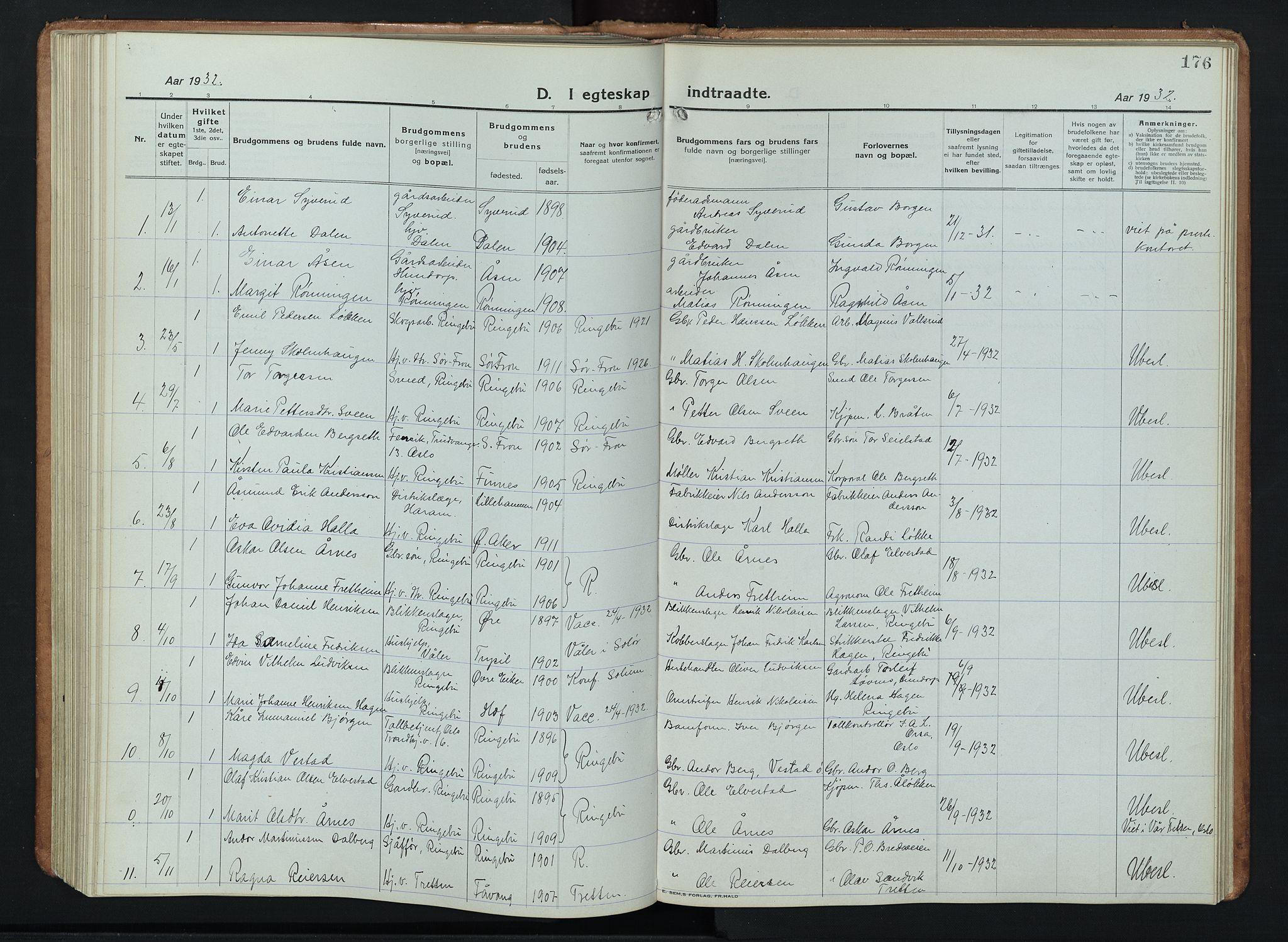 SAH, Ringebu prestekontor, Klokkerbok nr. 11, 1921-1943, s. 176