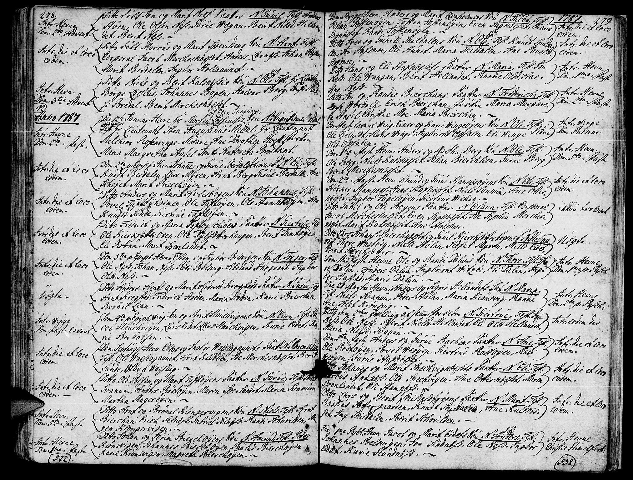 SAT, Ministerialprotokoller, klokkerbøker og fødselsregistre - Sør-Trøndelag, 630/L0489: Ministerialbok nr. 630A02, 1757-1794, s. 278-279