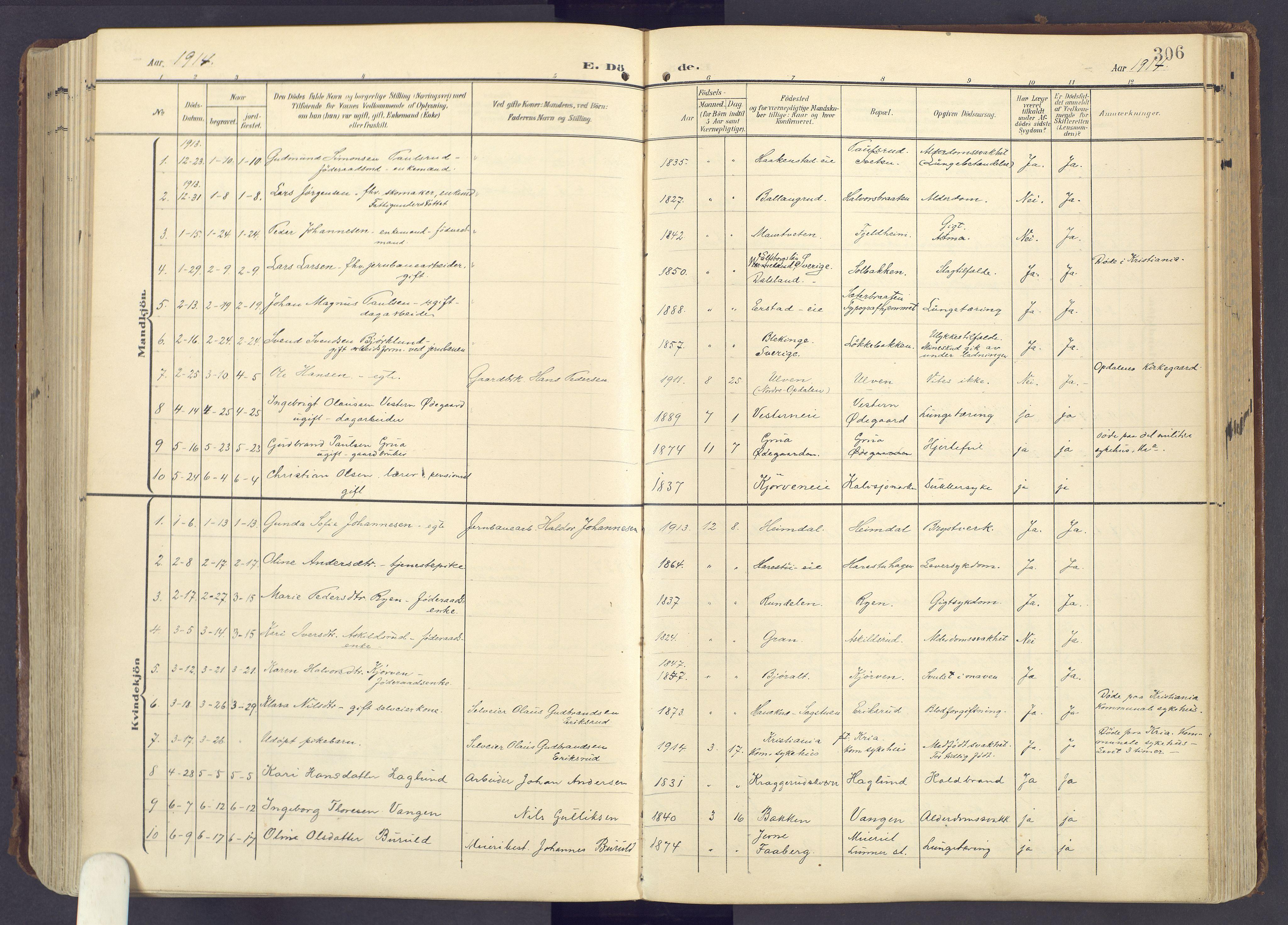 SAH, Lunner prestekontor, H/Ha/Haa/L0001: Ministerialbok nr. 1, 1907-1922, s. 306