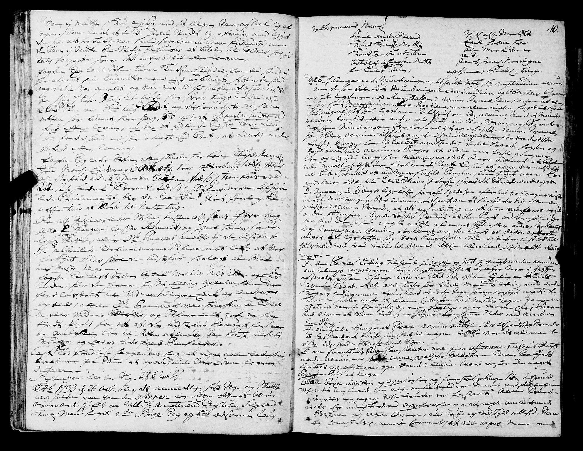 SAT, Romsdal sorenskriveri, 1/1A/L0011: Tingbok, 1732-1740, s. 39b-40a