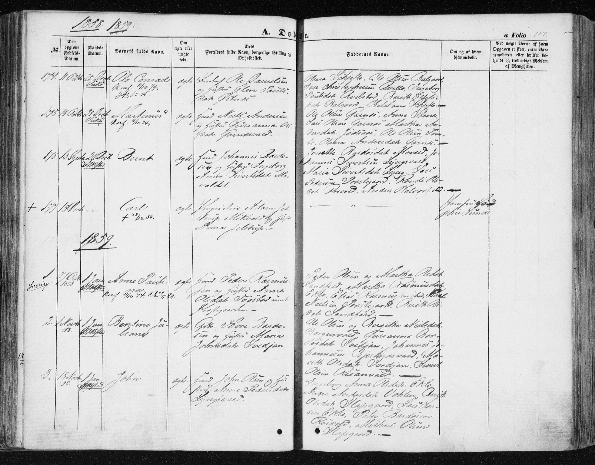 SAT, Ministerialprotokoller, klokkerbøker og fødselsregistre - Nord-Trøndelag, 723/L0240: Ministerialbok nr. 723A09, 1852-1860, s. 107
