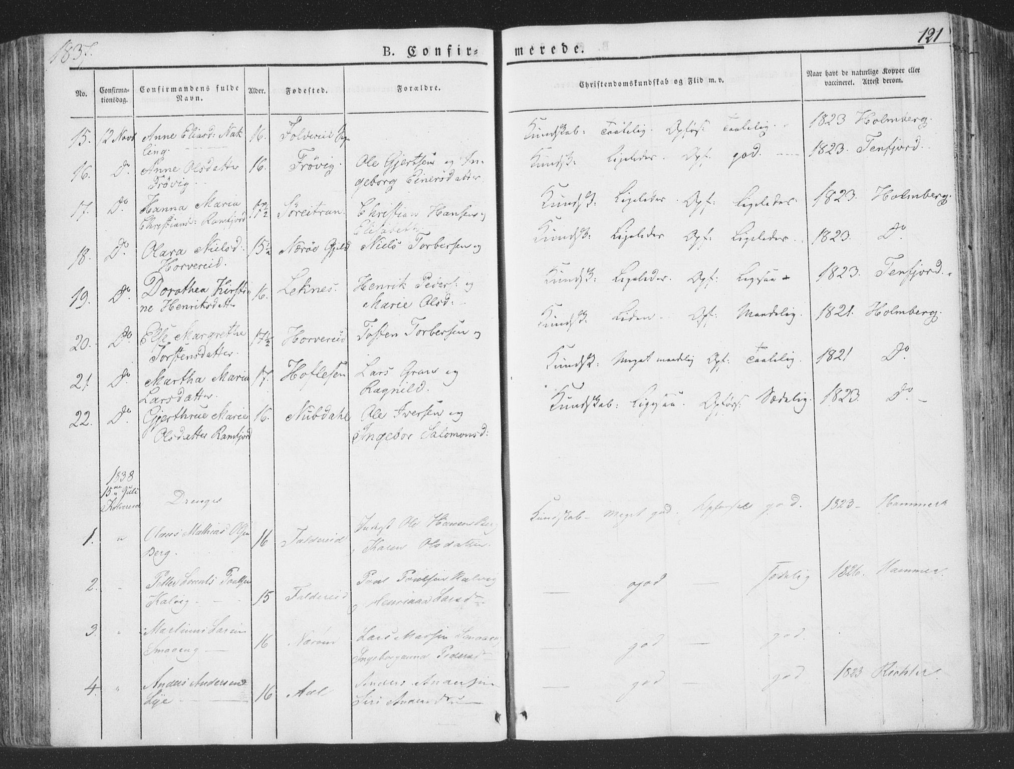 SAT, Ministerialprotokoller, klokkerbøker og fødselsregistre - Nord-Trøndelag, 780/L0639: Ministerialbok nr. 780A04, 1830-1844, s. 121