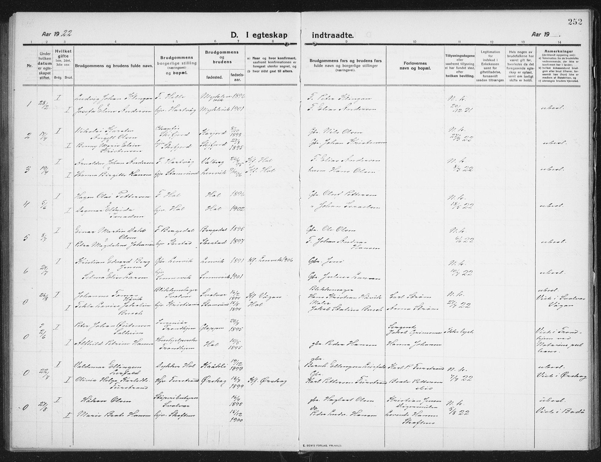 SAT, Ministerialprotokoller, klokkerbøker og fødselsregistre - Nordland, 882/L1183: Klokkerbok nr. 882C01, 1911-1938, s. 252