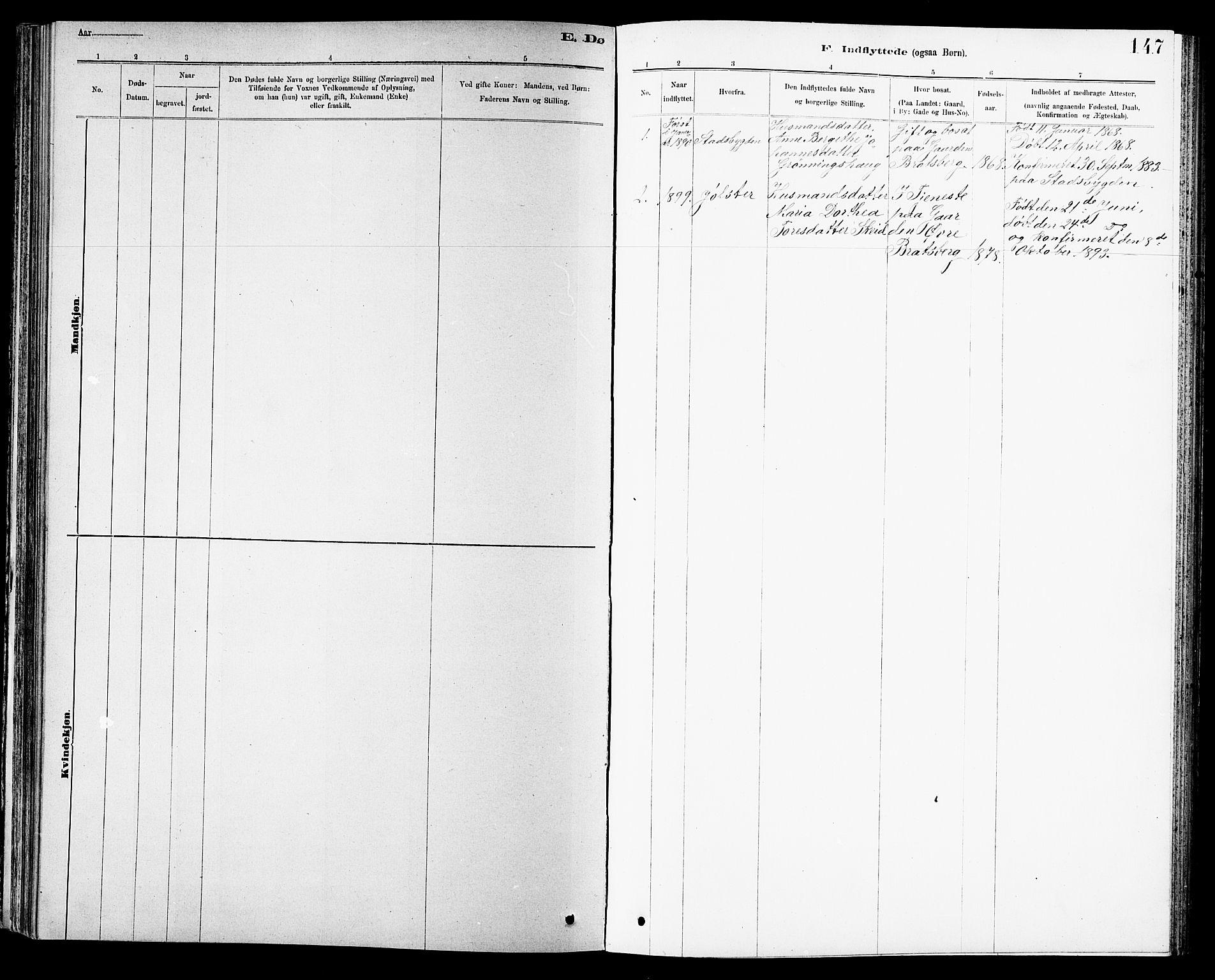 SAT, Ministerialprotokoller, klokkerbøker og fødselsregistre - Sør-Trøndelag, 608/L0341: Klokkerbok nr. 608C07, 1890-1912, s. 147