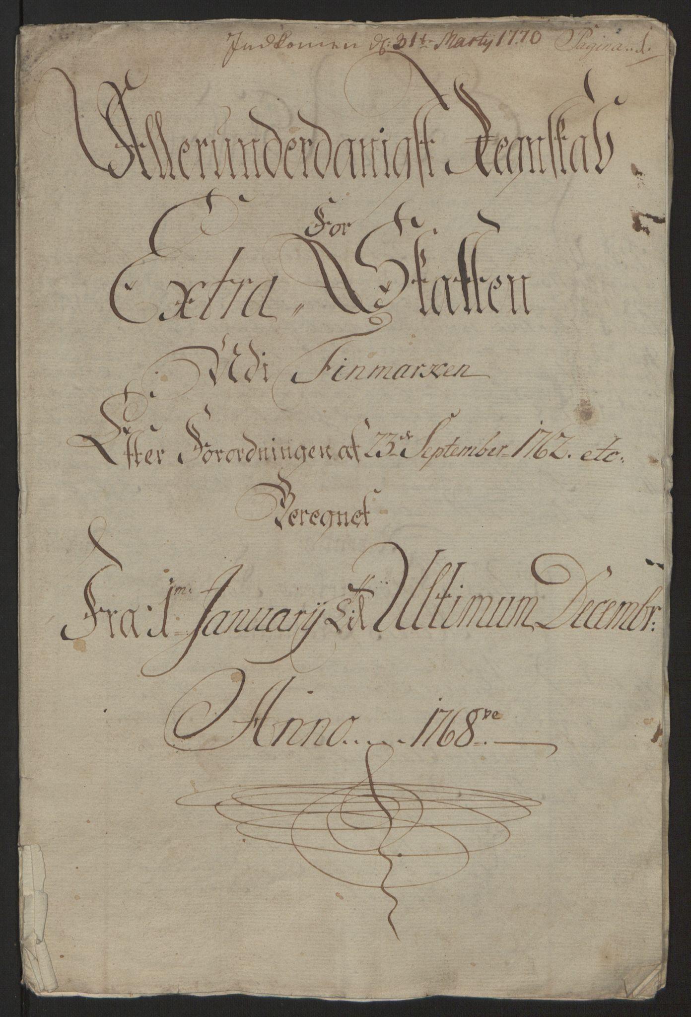 RA, Rentekammeret inntil 1814, Reviderte regnskaper, Fogderegnskap, R69/L4910: Ekstraskatten  Finnmark/Vardøhus, 1762-1772, s. 244