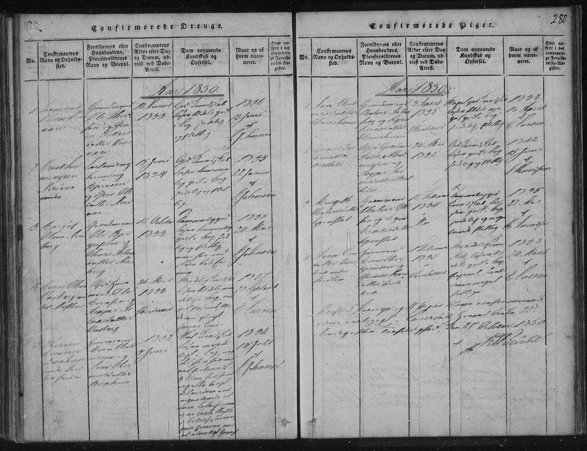 SAKO, Lårdal kirkebøker, F/Fc/L0001: Ministerialbok nr. III 1, 1815-1860, s. 280
