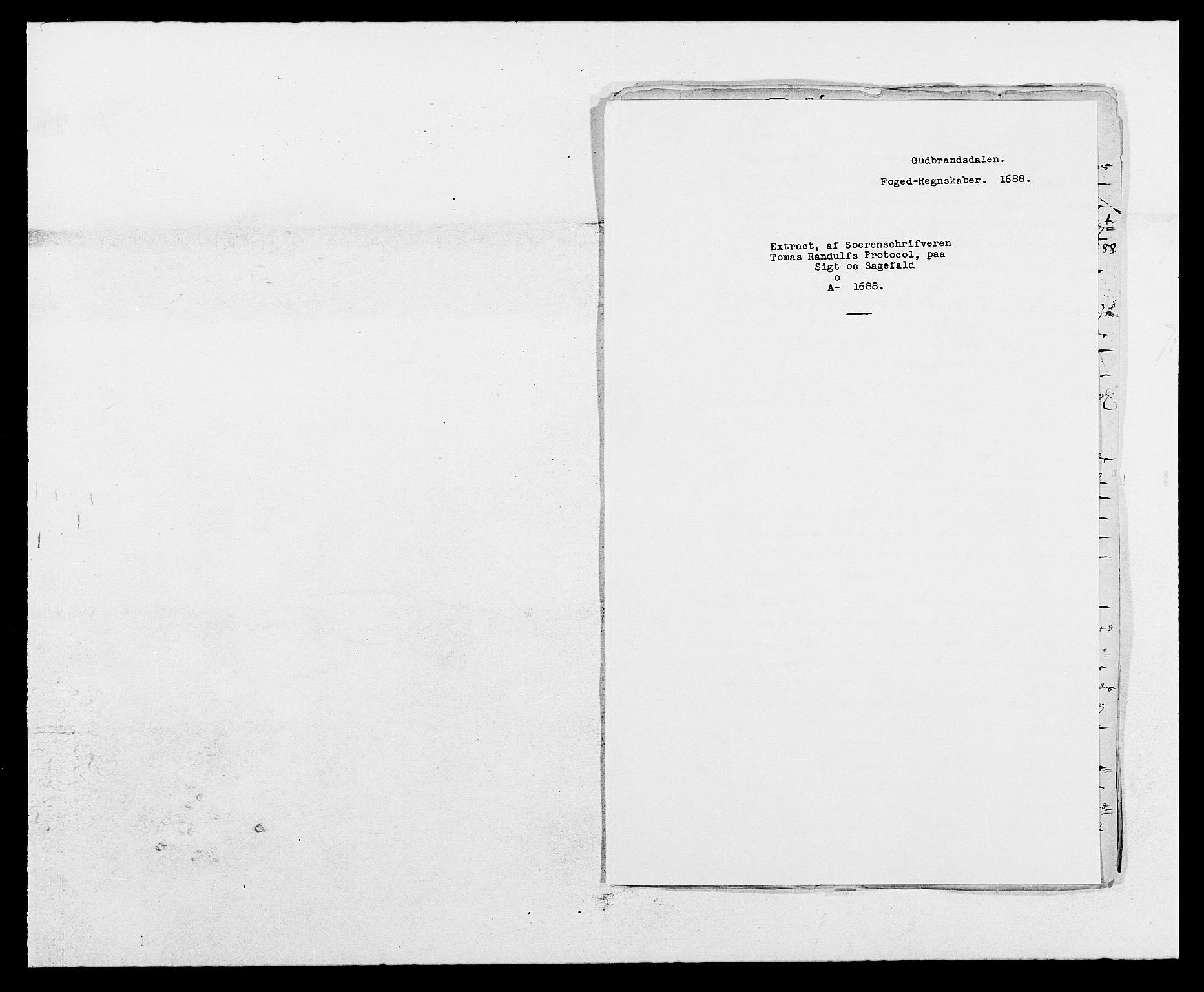RA, Rentekammeret inntil 1814, Reviderte regnskaper, Fogderegnskap, R17/L1163: Fogderegnskap Gudbrandsdal, 1682-1689, s. 312