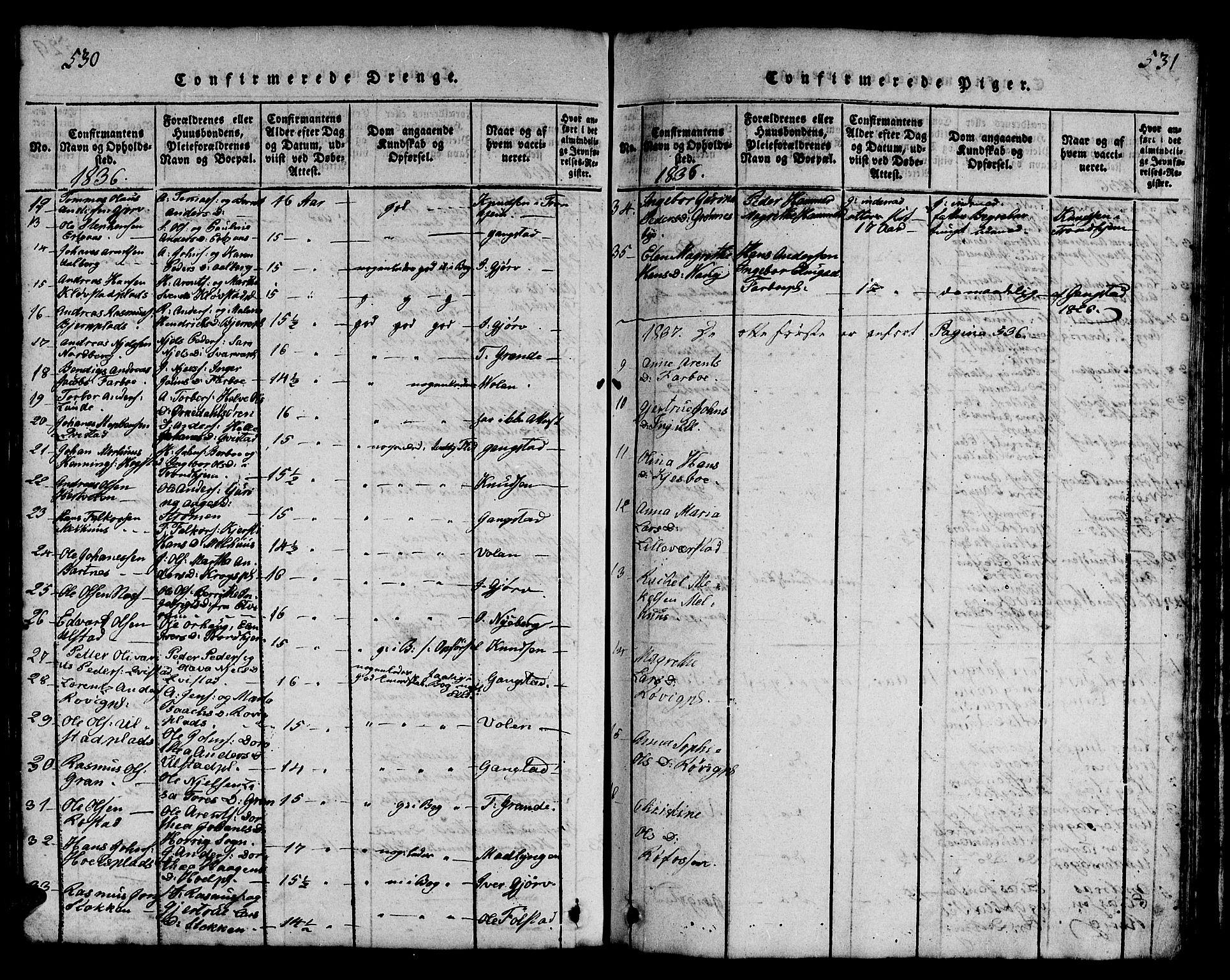 SAT, Ministerialprotokoller, klokkerbøker og fødselsregistre - Nord-Trøndelag, 730/L0298: Klokkerbok nr. 730C01, 1816-1849, s. 530-531