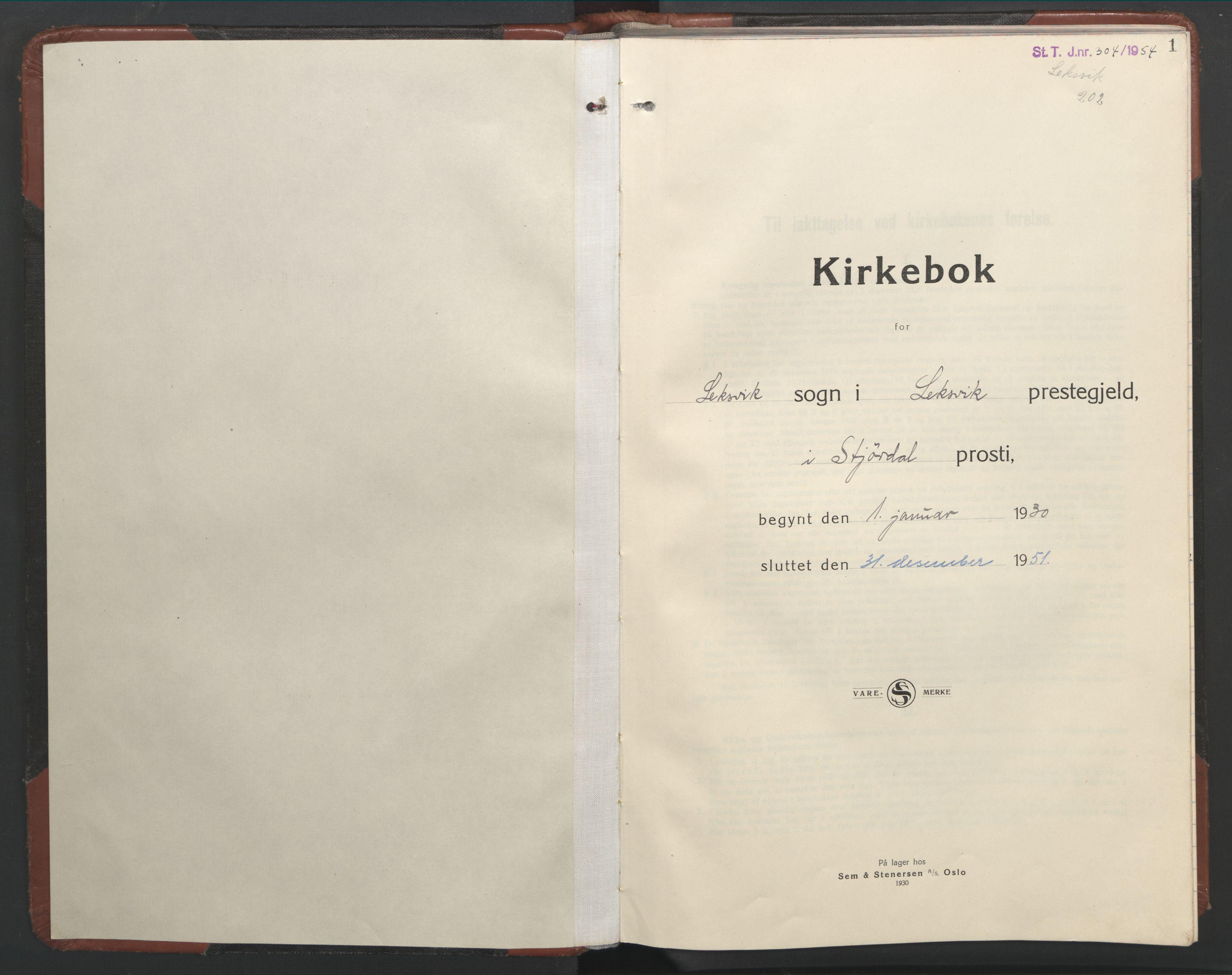 SAT, Ministerialprotokoller, klokkerbøker og fødselsregistre - Nord-Trøndelag, 701/L0019: Klokkerbok nr. 701C03, 1930-1953, s. 1