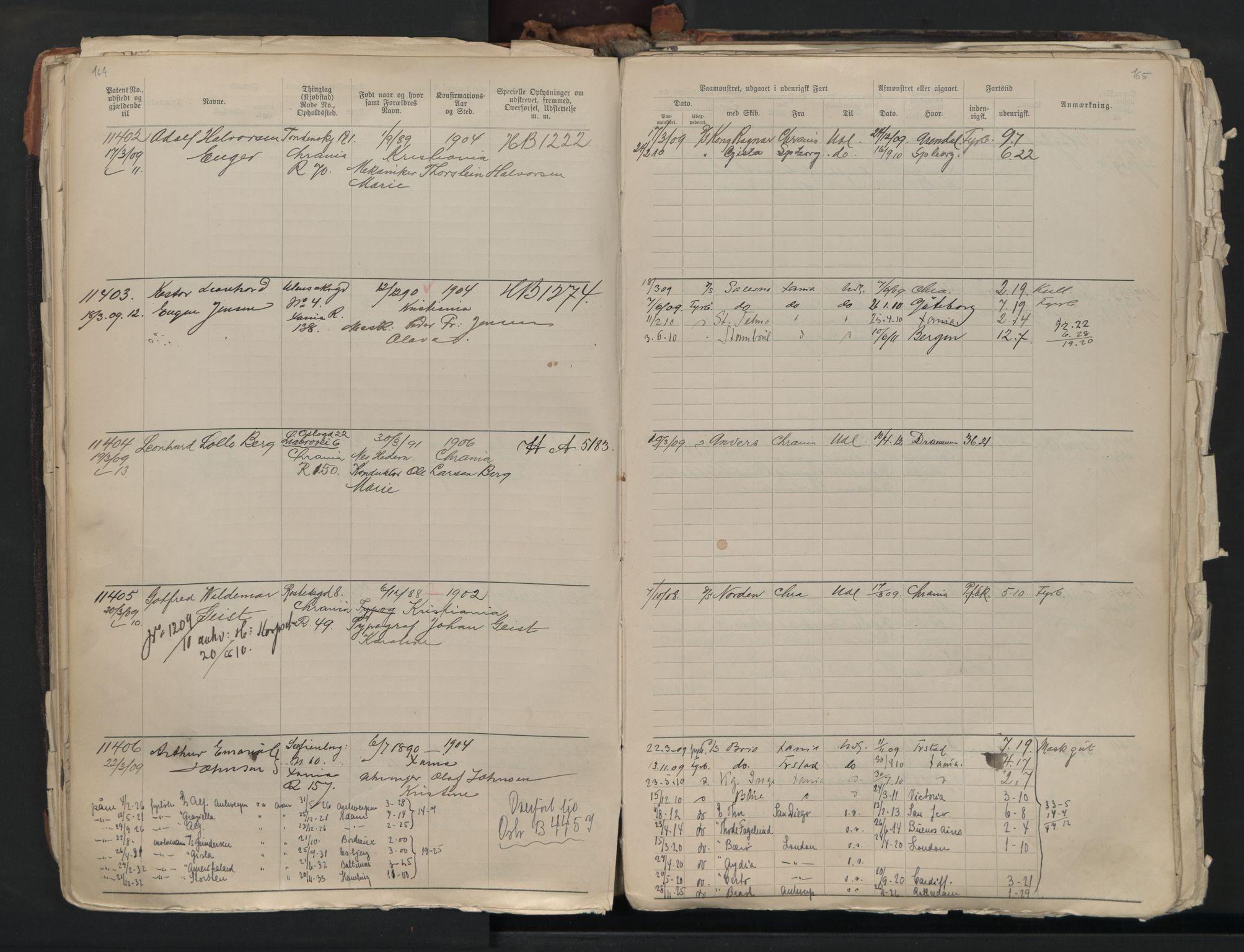 SAO, Oslo sjømannskontor, F/Fb/L0001: Annotasjonsrulle, 1908-1938, s. 164-165