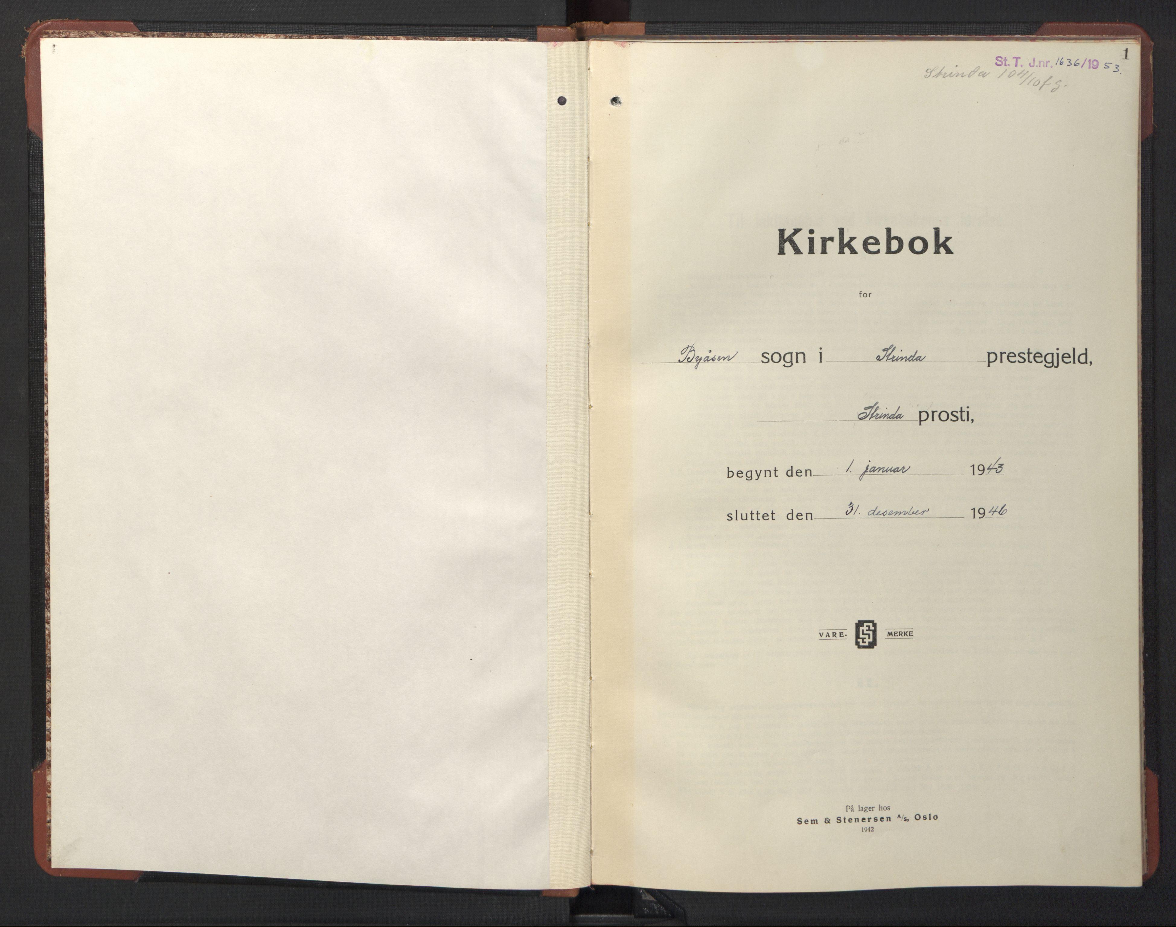 SAT, Ministerialprotokoller, klokkerbøker og fødselsregistre - Sør-Trøndelag, 611/L0358: Klokkerbok nr. 611C06, 1943-1946, s. 1