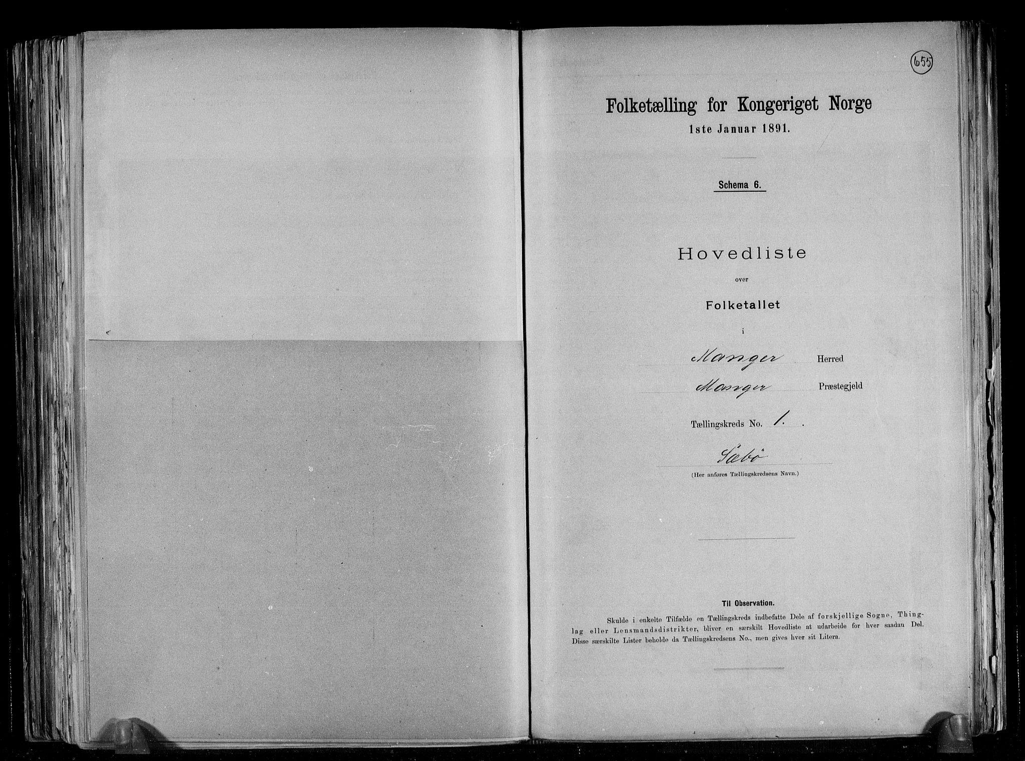 RA, Folketelling 1891 for 1261 Manger herred, 1891, s. 5
