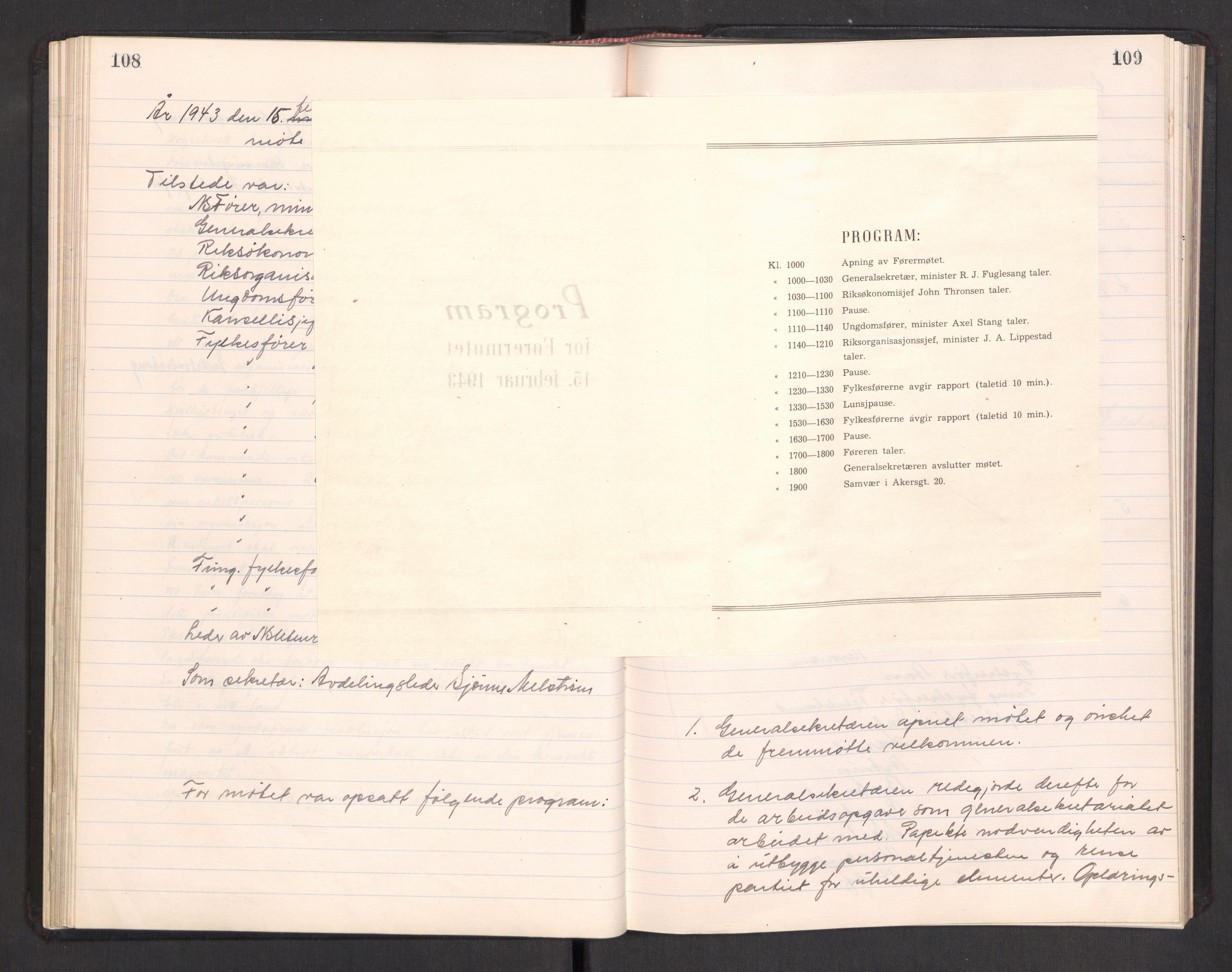 RA, Nasjonal Samling (NS) Generalsekretariat, A/L0117: NS Riks- og Rådsmøteprotokoll, 1934-1945, s. 108-109