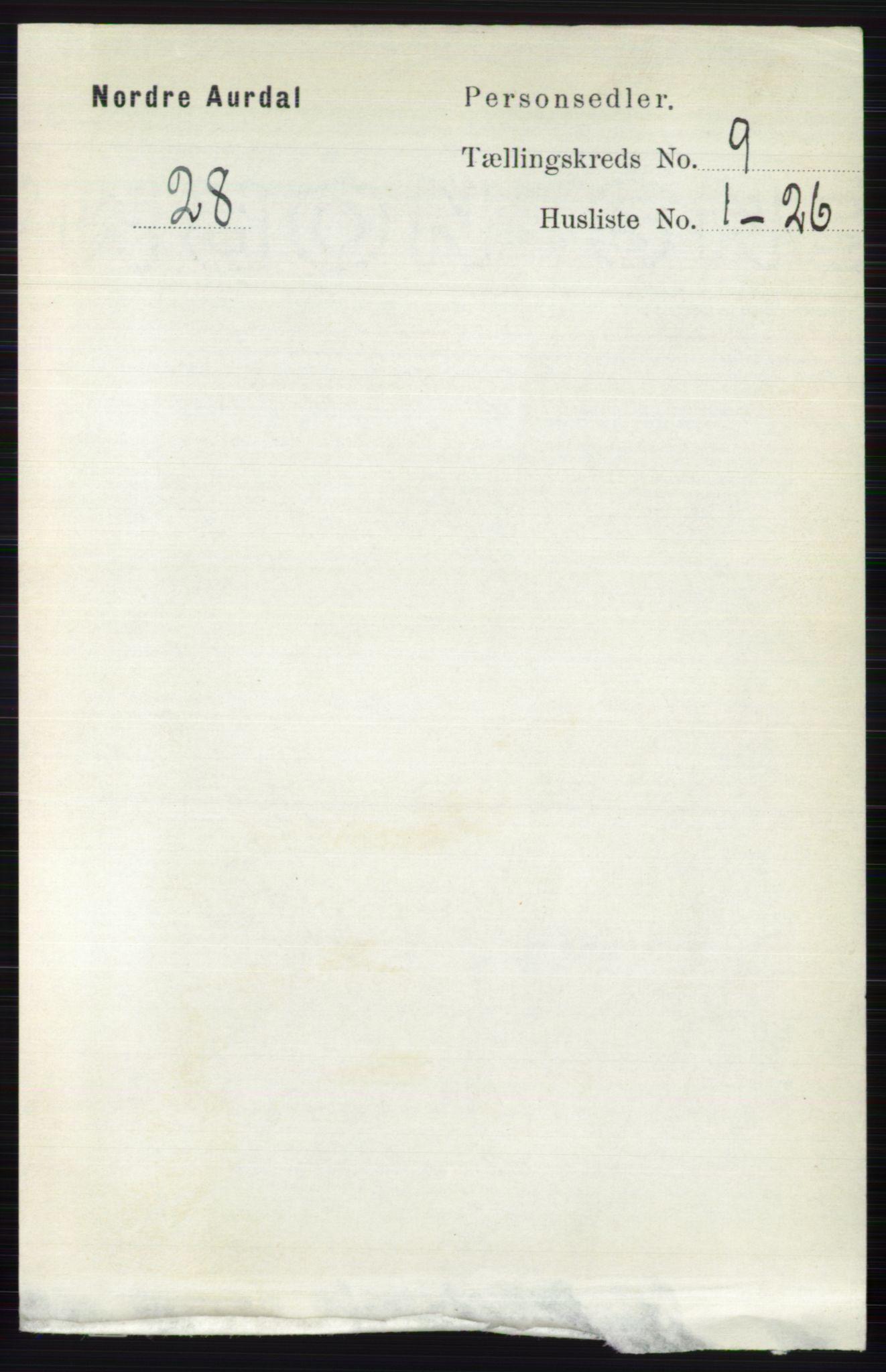 RA, Folketelling 1891 for 0542 Nord-Aurdal herred, 1891, s. 3415