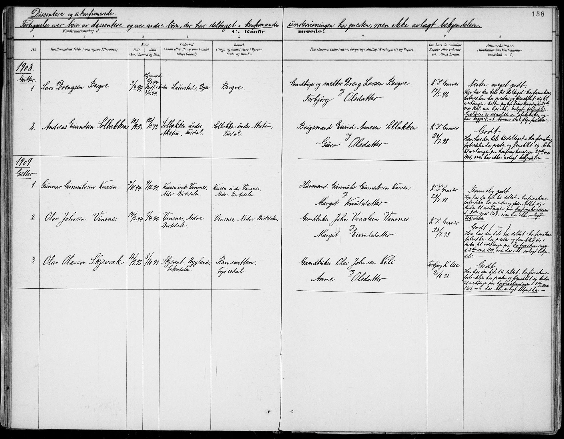 SAKO, Fyresdal kirkebøker, F/Fa/L0007: Ministerialbok nr. I 7, 1887-1914, s. 138