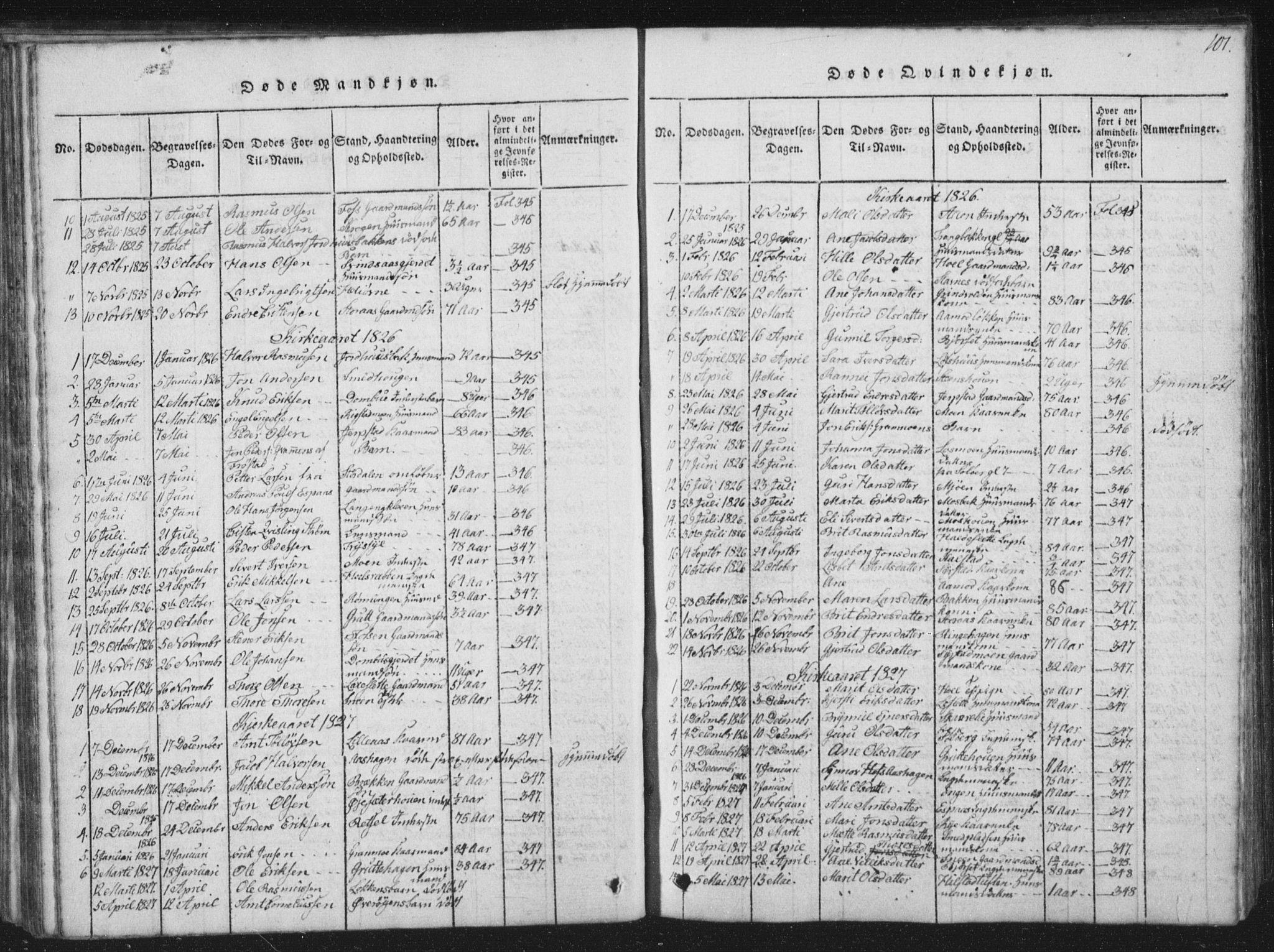 SAT, Ministerialprotokoller, klokkerbøker og fødselsregistre - Sør-Trøndelag, 672/L0862: Klokkerbok nr. 672C01, 1816-1831, s. 101