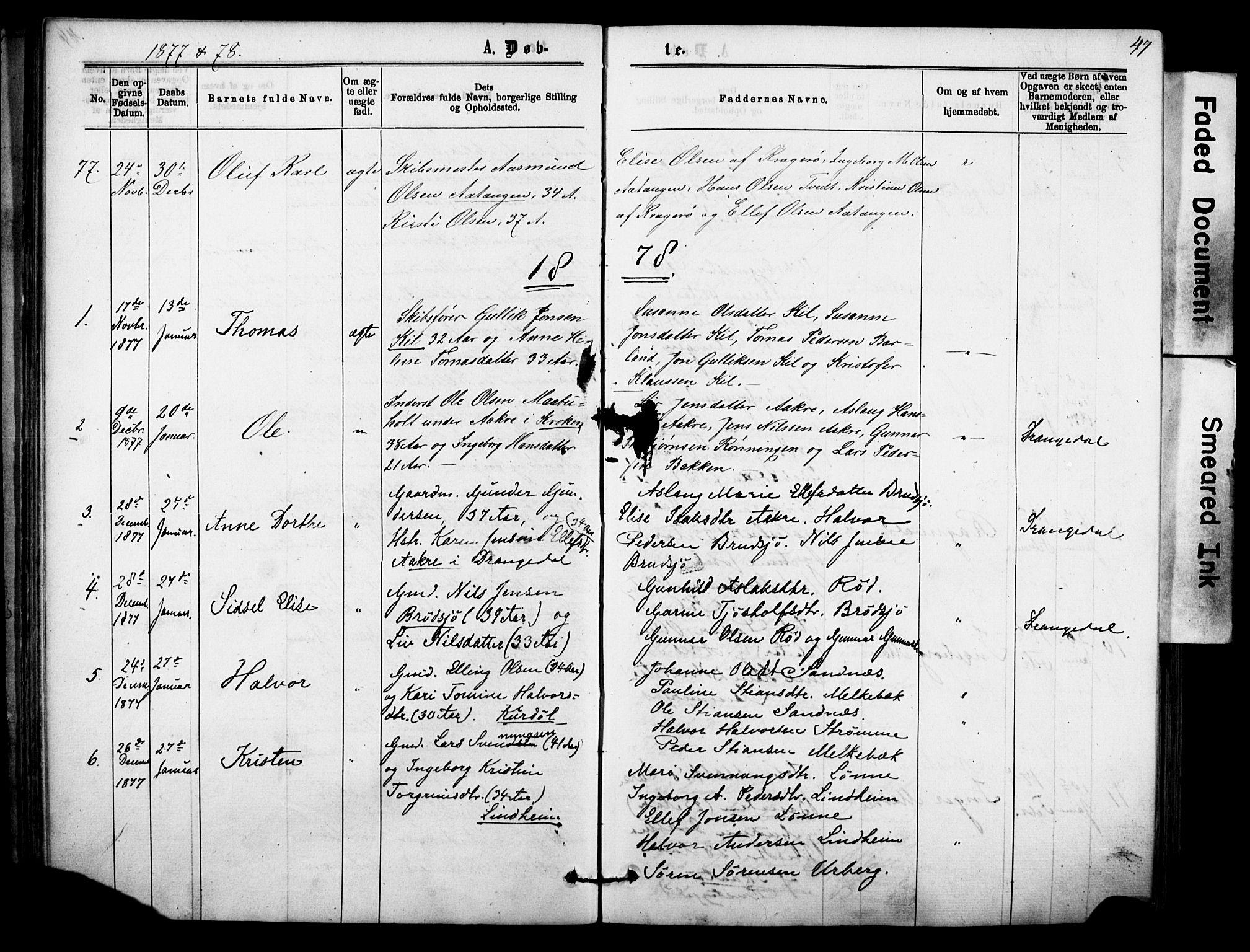 SAKO, Sannidal kirkebøker, F/Fa/L0014: Ministerialbok nr. 14, 1874-1883, s. 47
