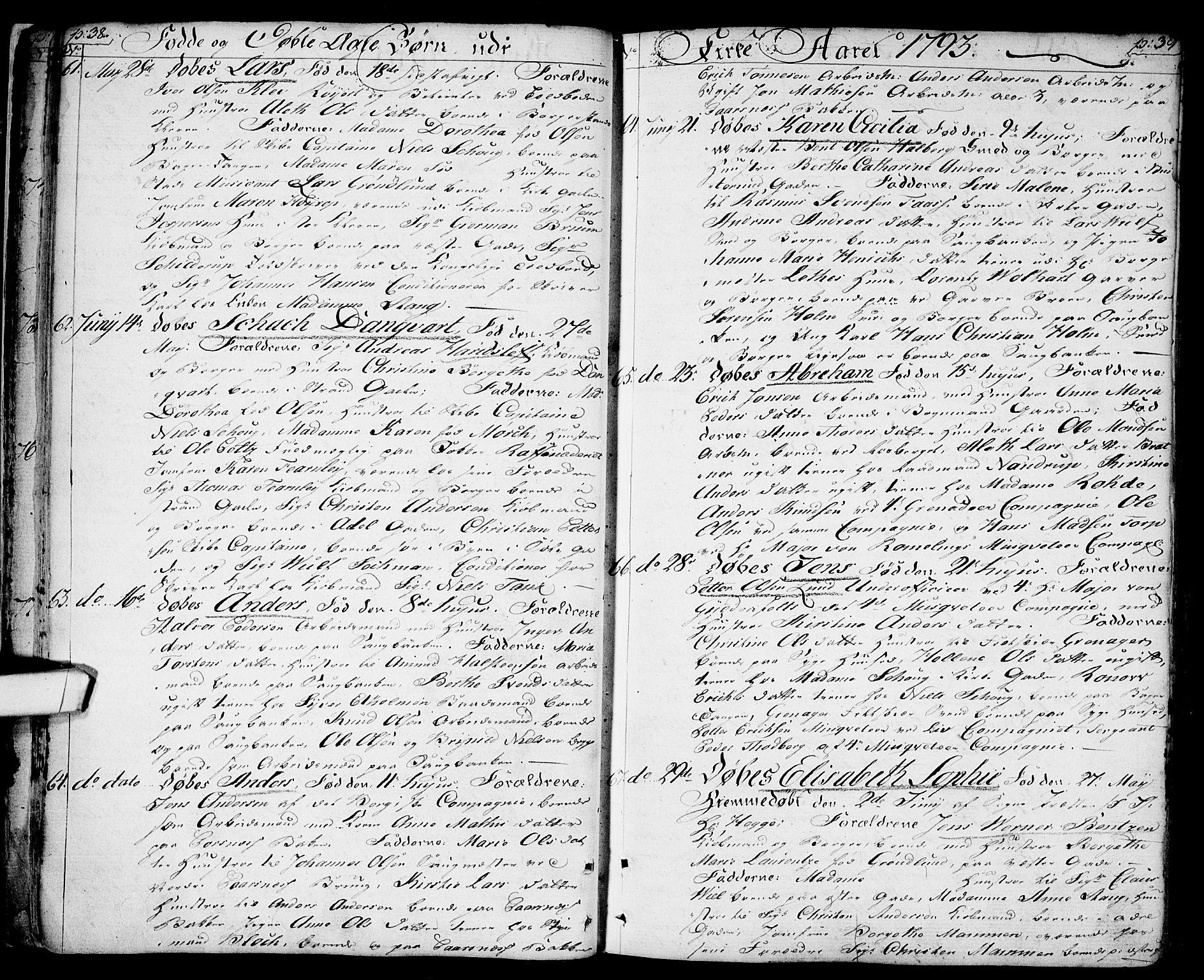 SAO, Halden prestekontor Kirkebøker, F/Fa/L0002: Ministerialbok nr. I 2, 1792-1812, s. 38-39