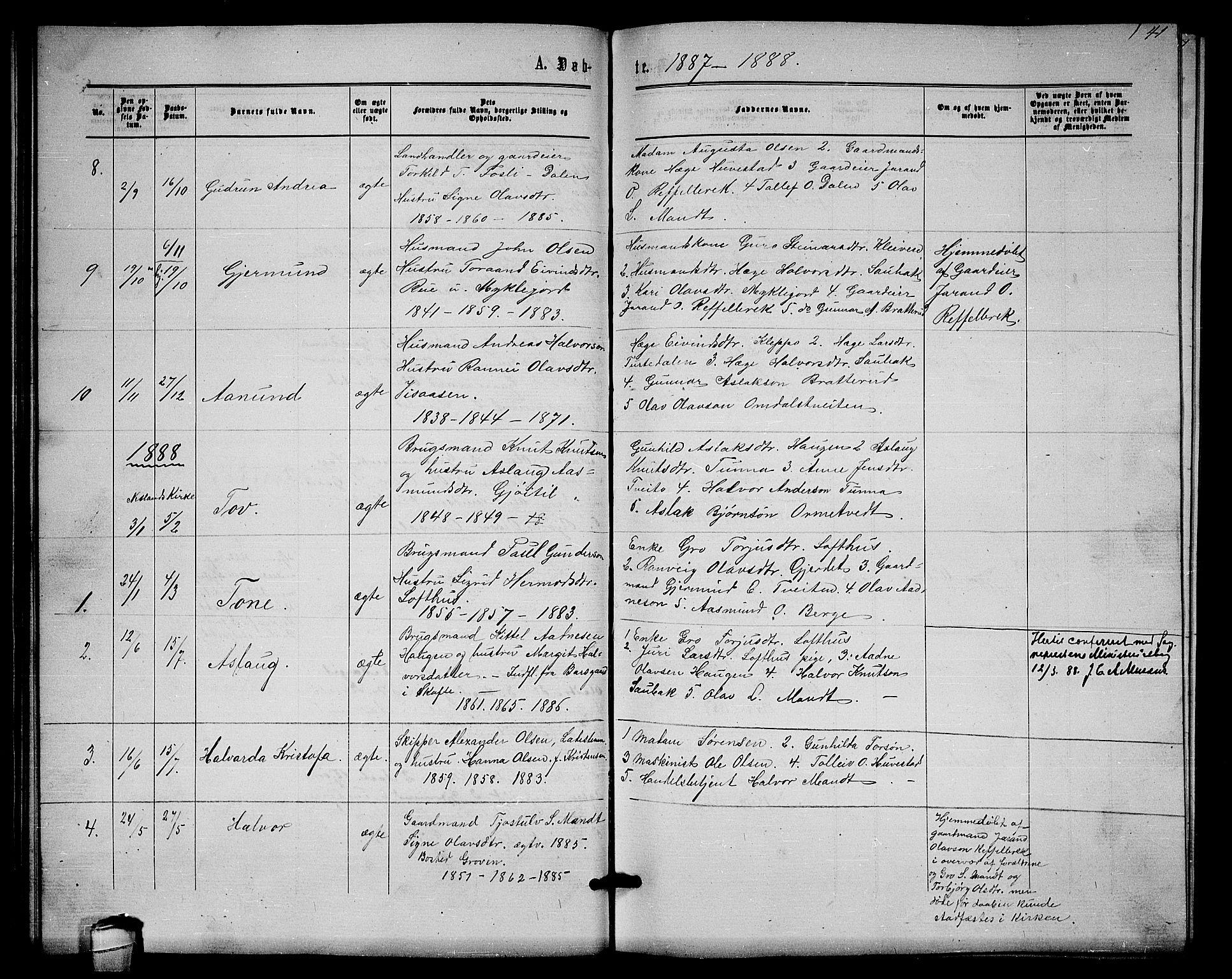 SAKO, Lårdal kirkebøker, G/Gb/L0002: Klokkerbok nr. II 2, 1865-1888, s. 41
