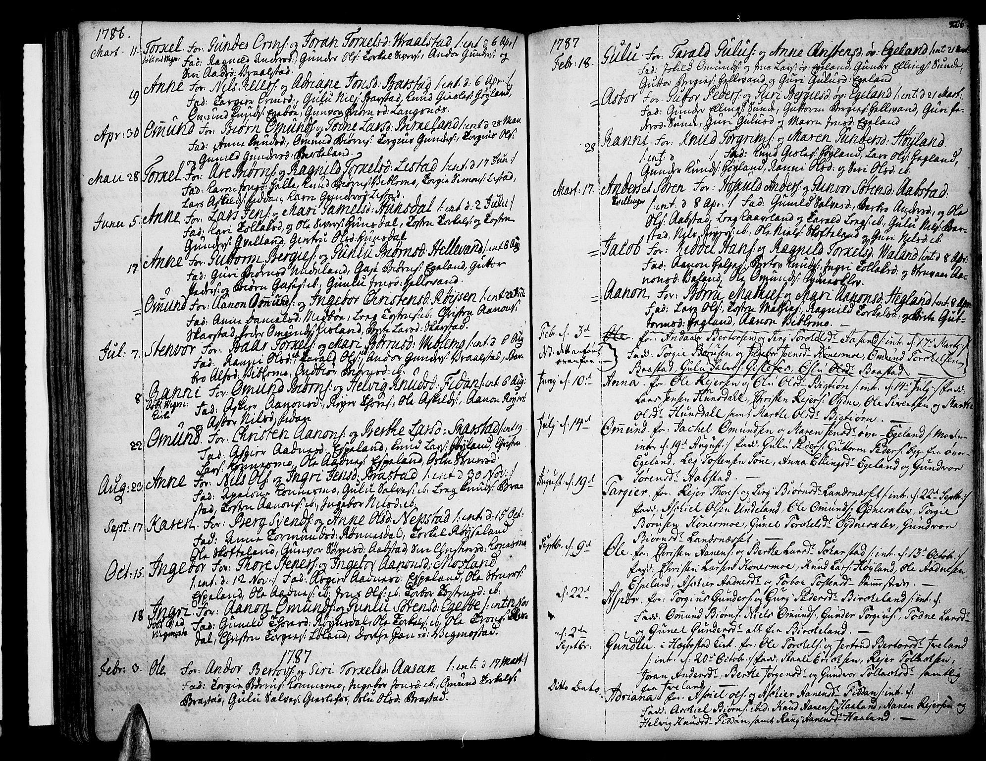 SAK, Sør-Audnedal sokneprestkontor, F/Fa/Fab/L0002: Ministerialbok nr. A 2 /4, 1768-1814, s. 206