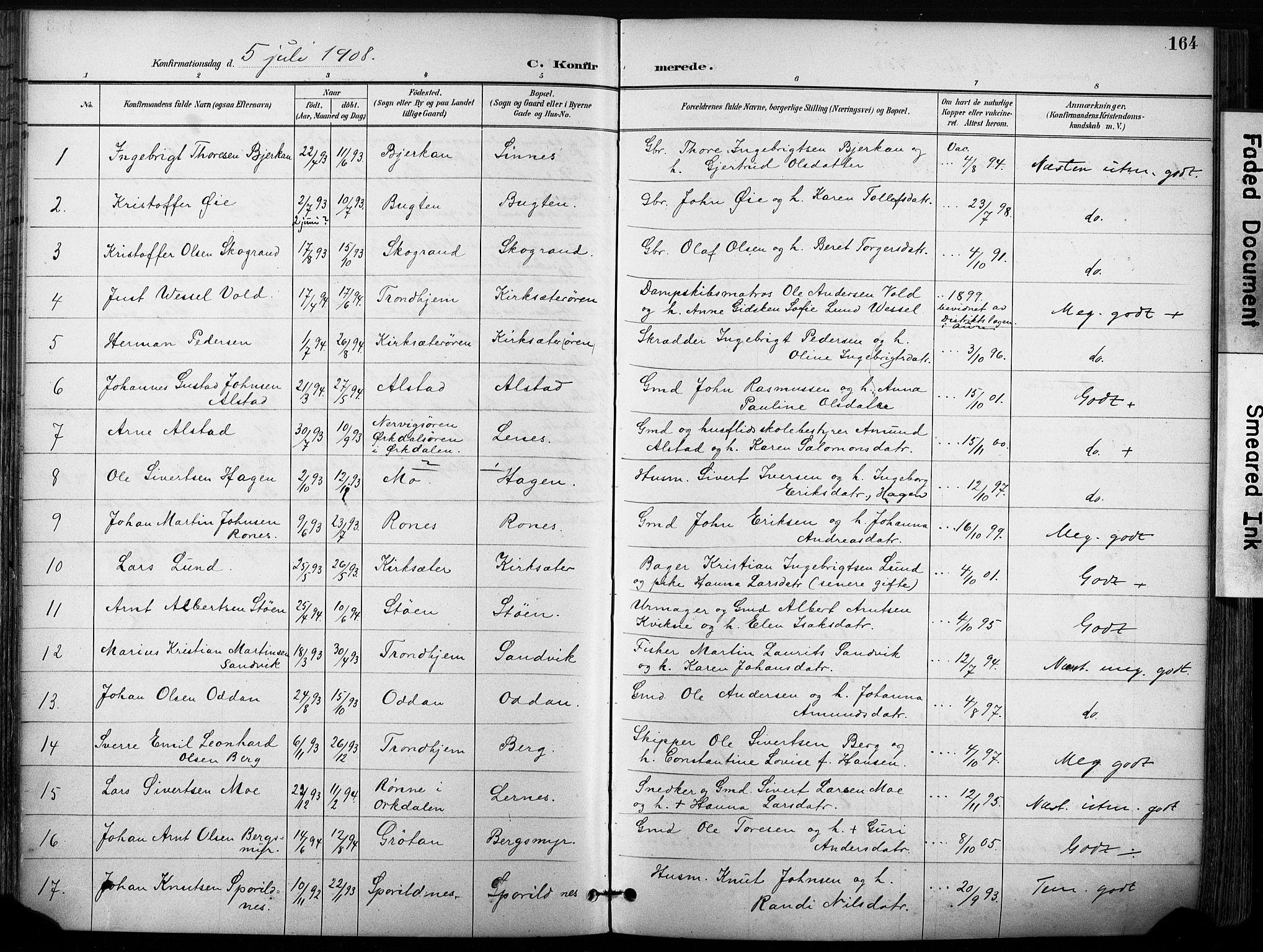 SAT, Ministerialprotokoller, klokkerbøker og fødselsregistre - Sør-Trøndelag, 630/L0497: Ministerialbok nr. 630A10, 1896-1910, s. 164