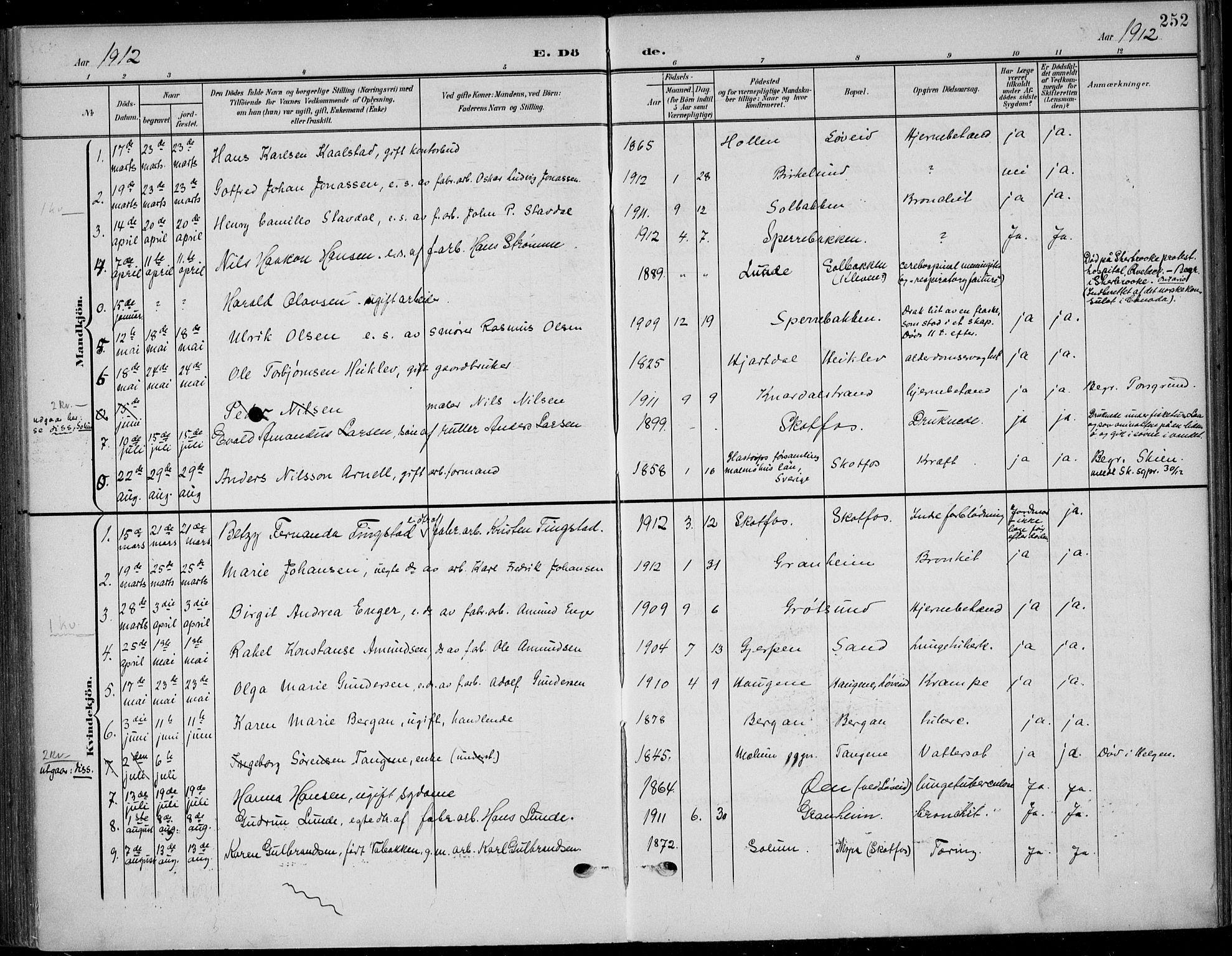 SAKO, Solum kirkebøker, F/Fb/L0003: Ministerialbok nr. II 3, 1901-1912, s. 252