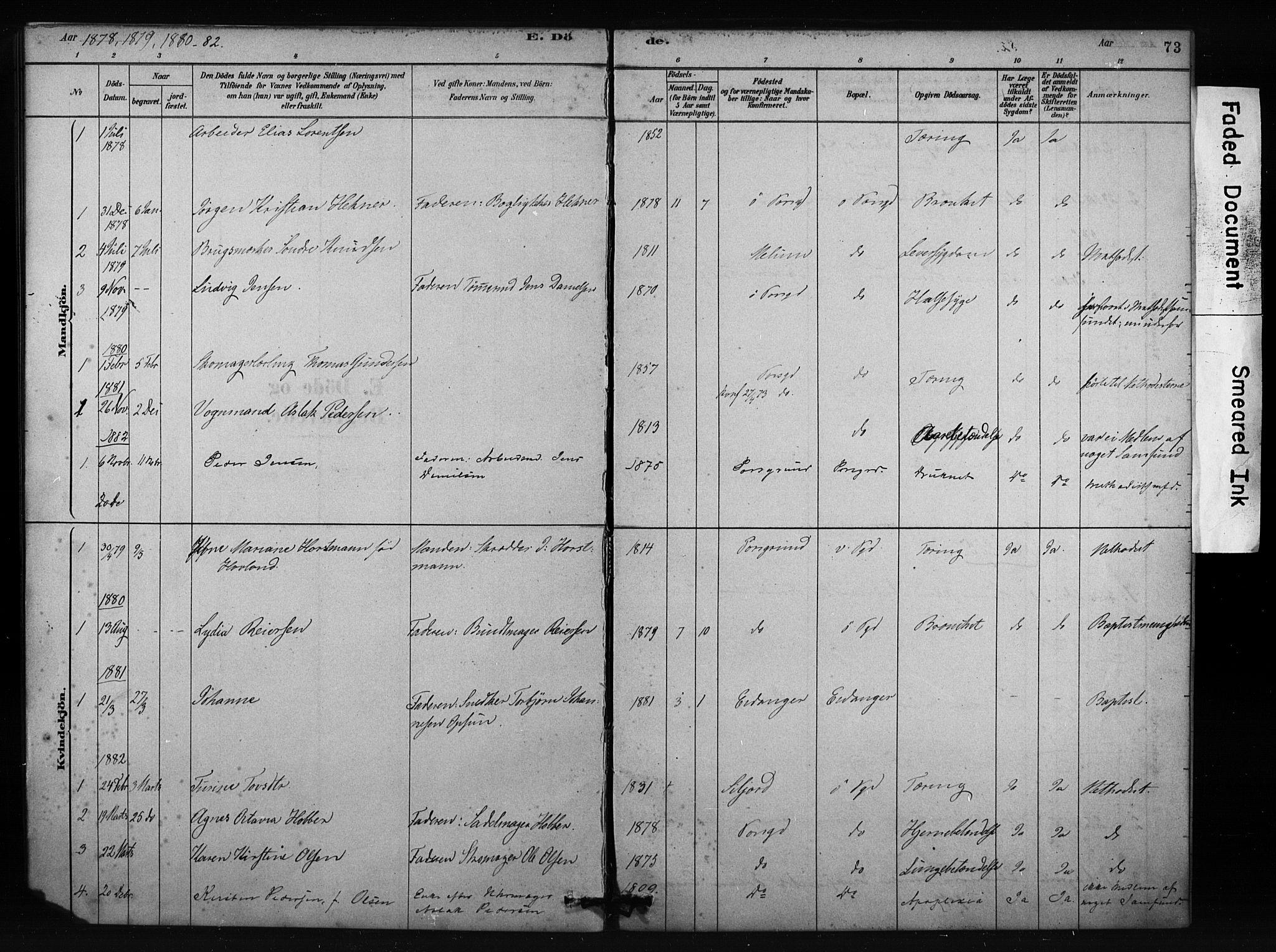 SAKO, Porsgrunn kirkebøker , F/Fa/L0009: Ministerialbok nr. 9, 1878-1923, s. 73