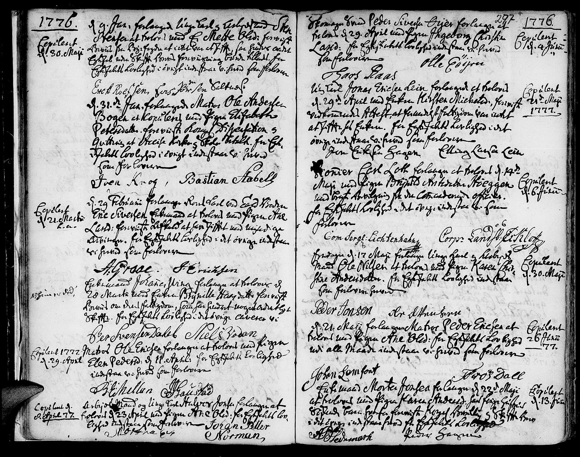 SAT, Ministerialprotokoller, klokkerbøker og fødselsregistre - Sør-Trøndelag, 601/L0038: Ministerialbok nr. 601A06, 1766-1877, s. 297