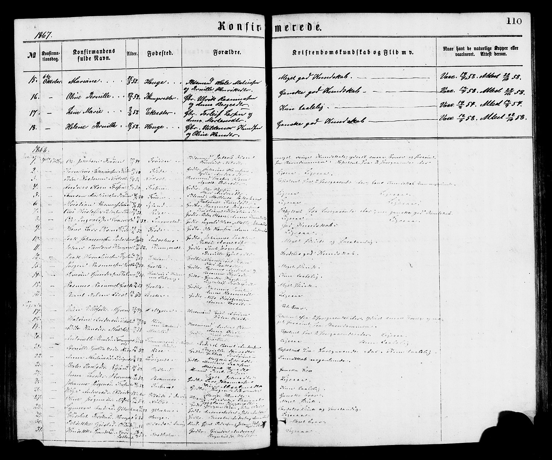 SAB, Bremanger Sokneprestembete, H/Hab: Klokkerbok nr. A 2, 1866-1889, s. 110