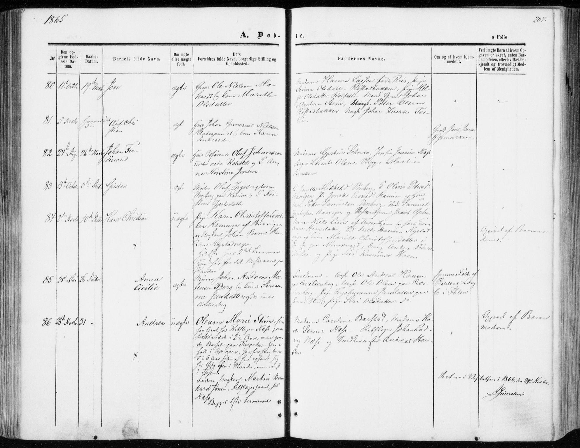 SAT, Ministerialprotokoller, klokkerbøker og fødselsregistre - Sør-Trøndelag, 606/L0292: Ministerialbok nr. 606A07, 1856-1865, s. 207