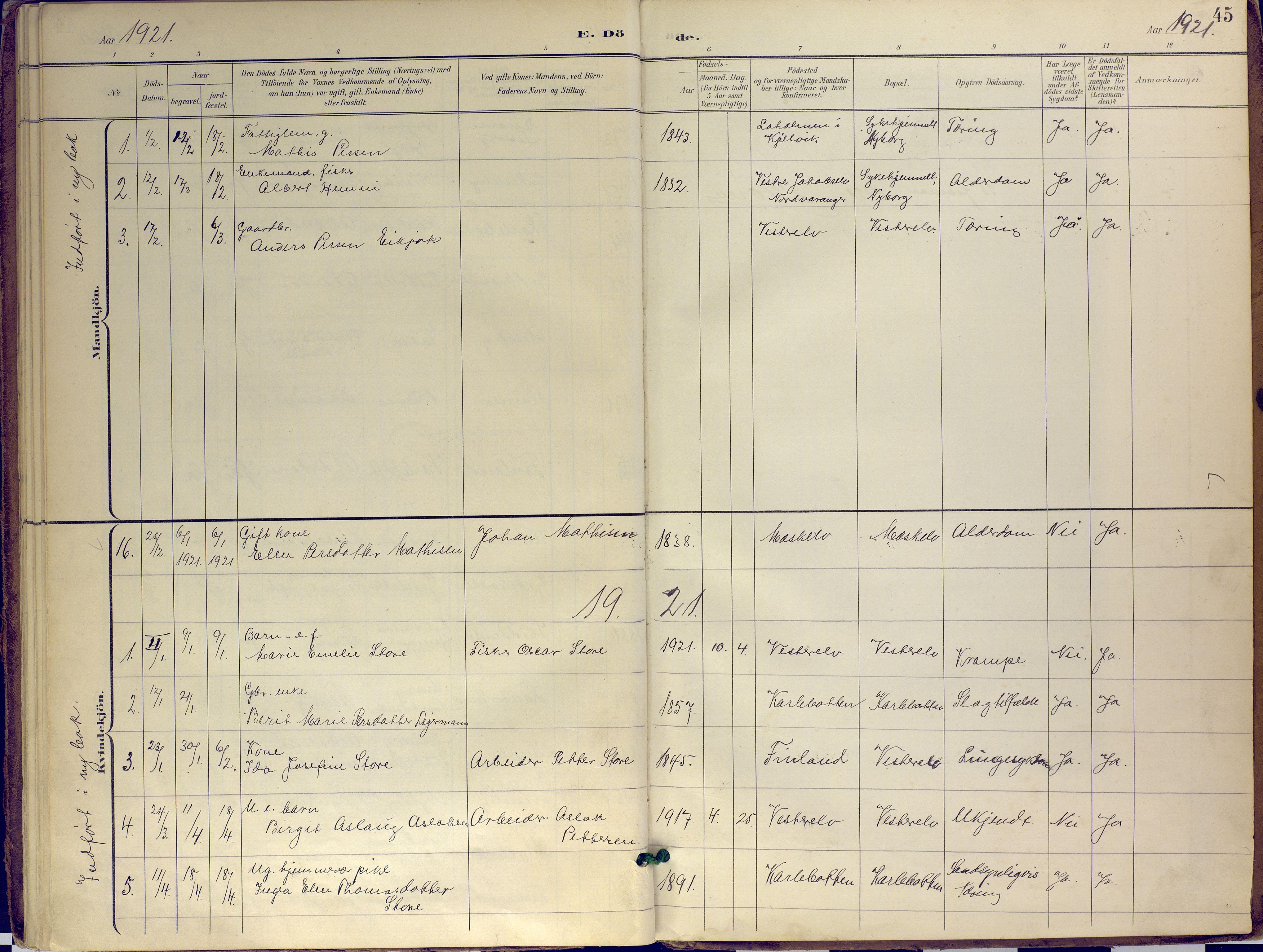 SATØ, Nesseby sokneprestkontor, H/Ha/L0007kirke: Ministerialbok nr. 7, 1898-1921, s. 45