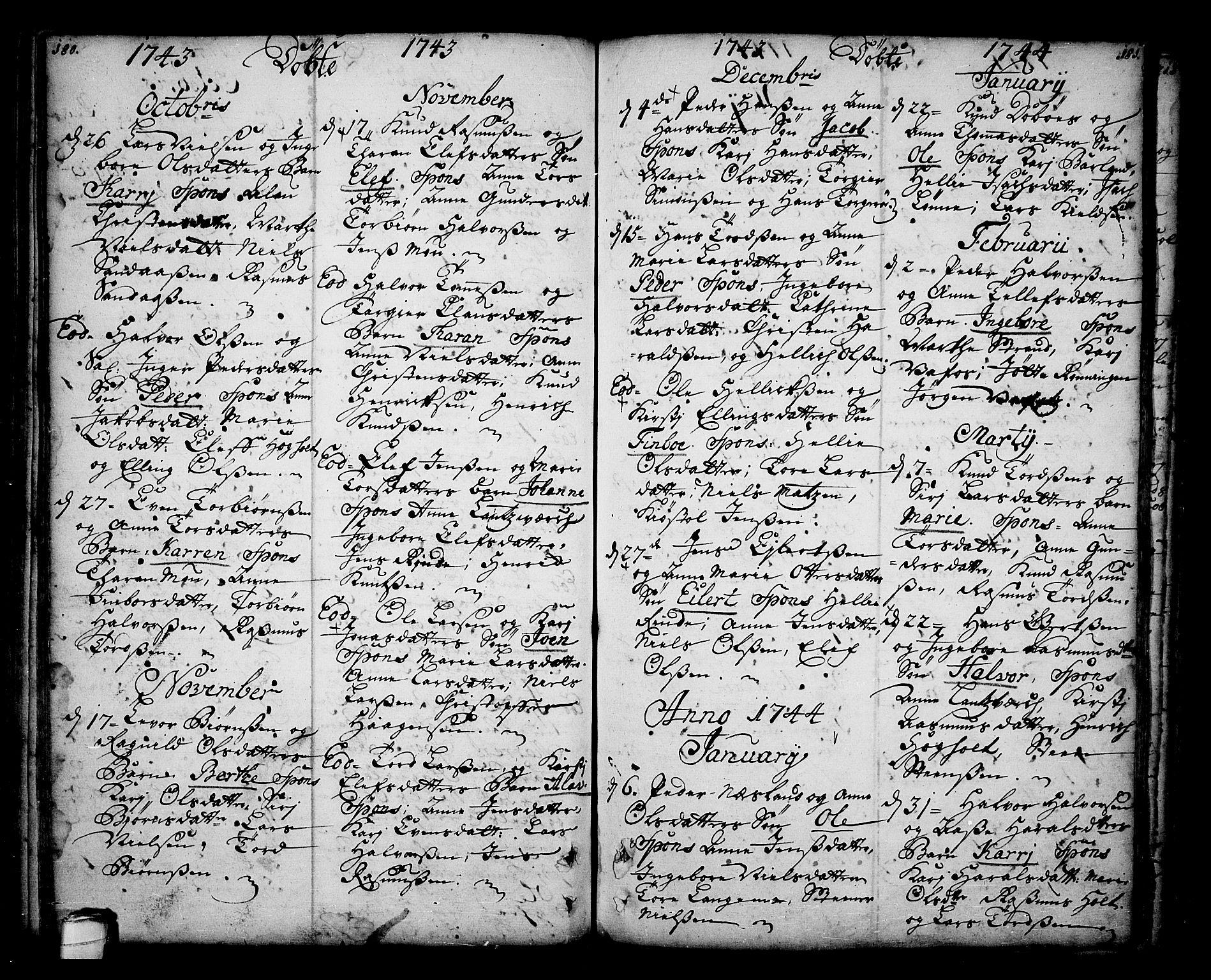 SAKO, Sannidal kirkebøker, F/Fa/L0001: Ministerialbok nr. 1, 1702-1766, s. 180-181