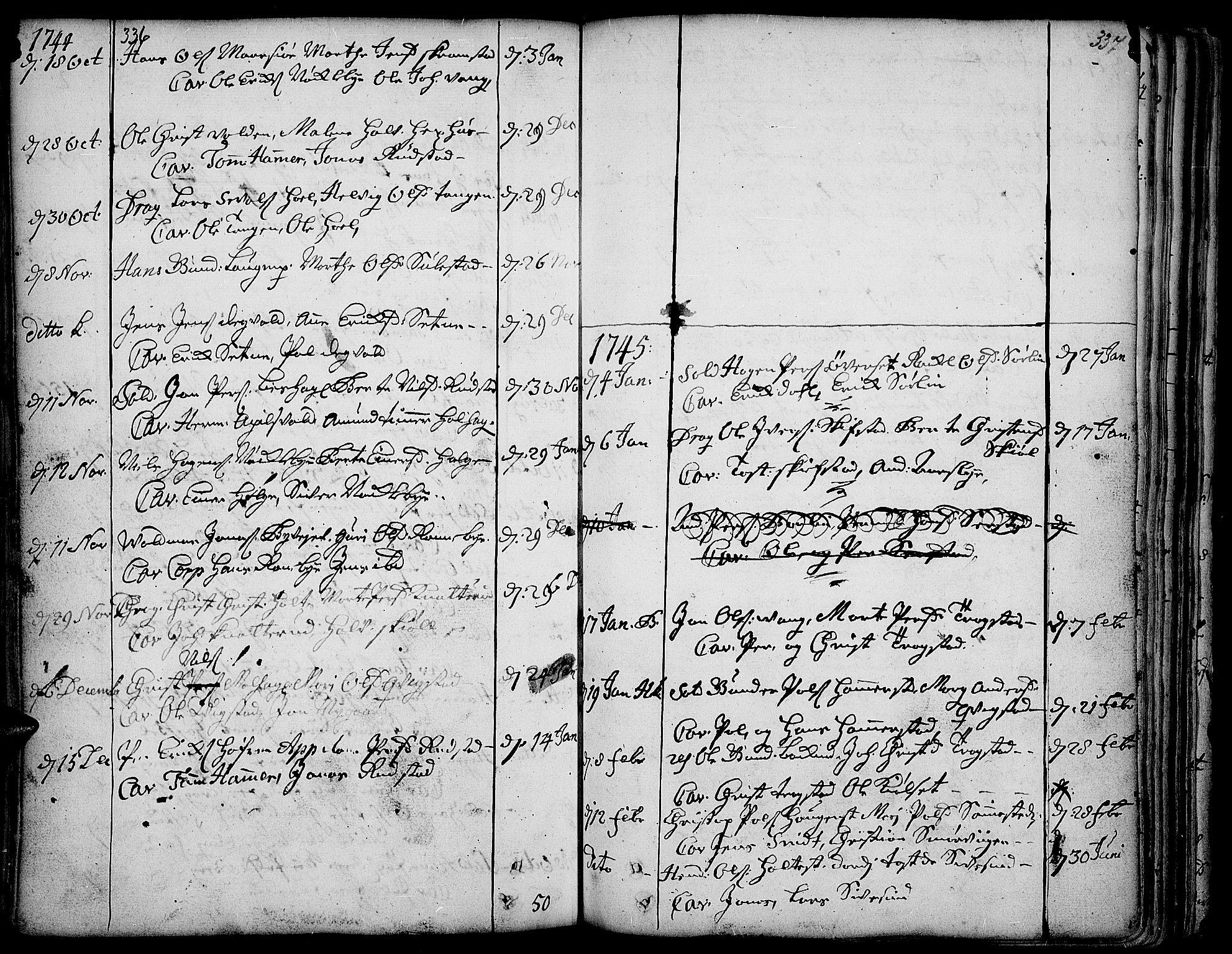 SAH, Toten prestekontor, Ministerialbok nr. 3, 1734-1751, s. 336-337