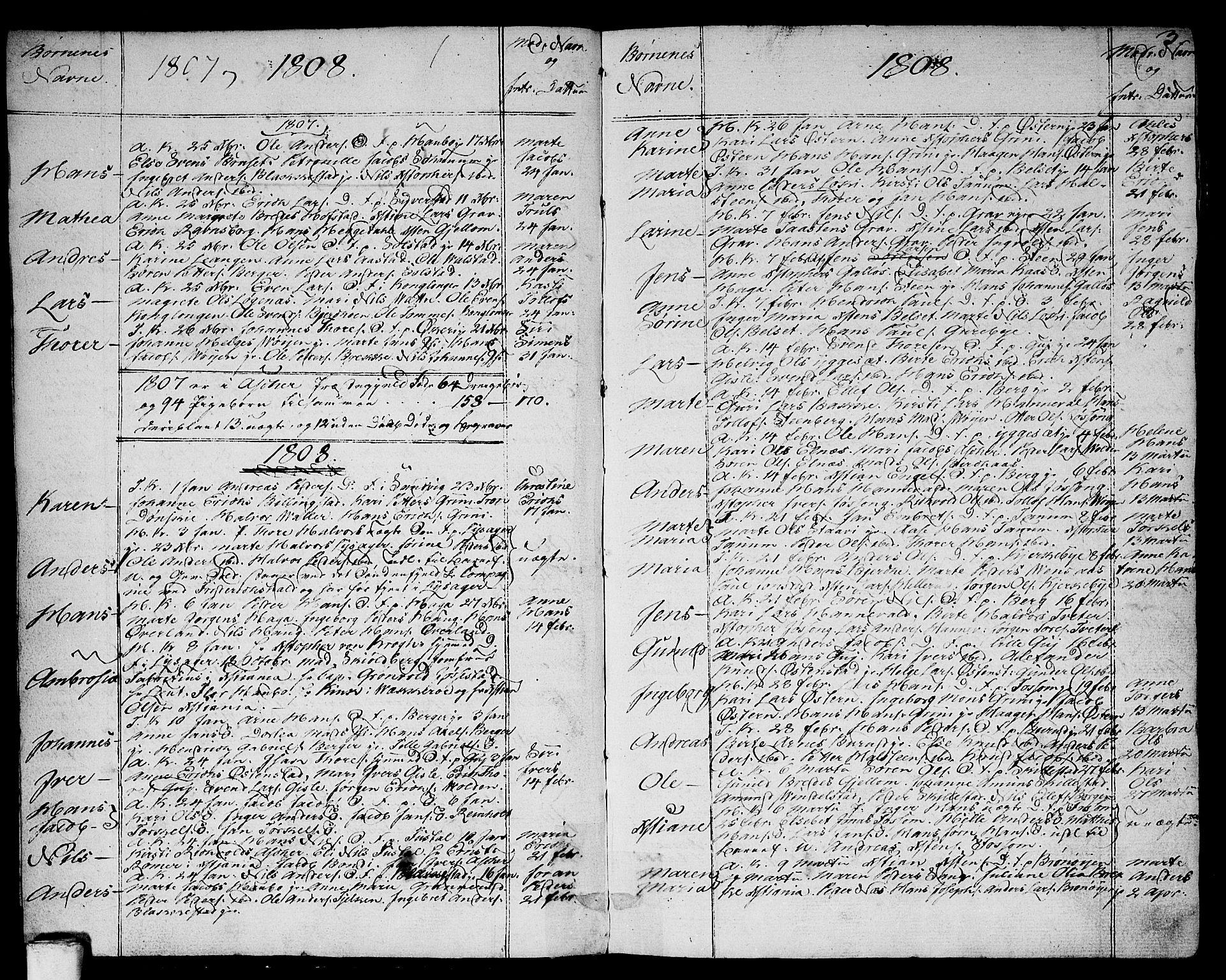 SAO, Asker prestekontor Kirkebøker, F/Fa/L0005: Ministerialbok nr. I 5, 1807-1813, s. 3