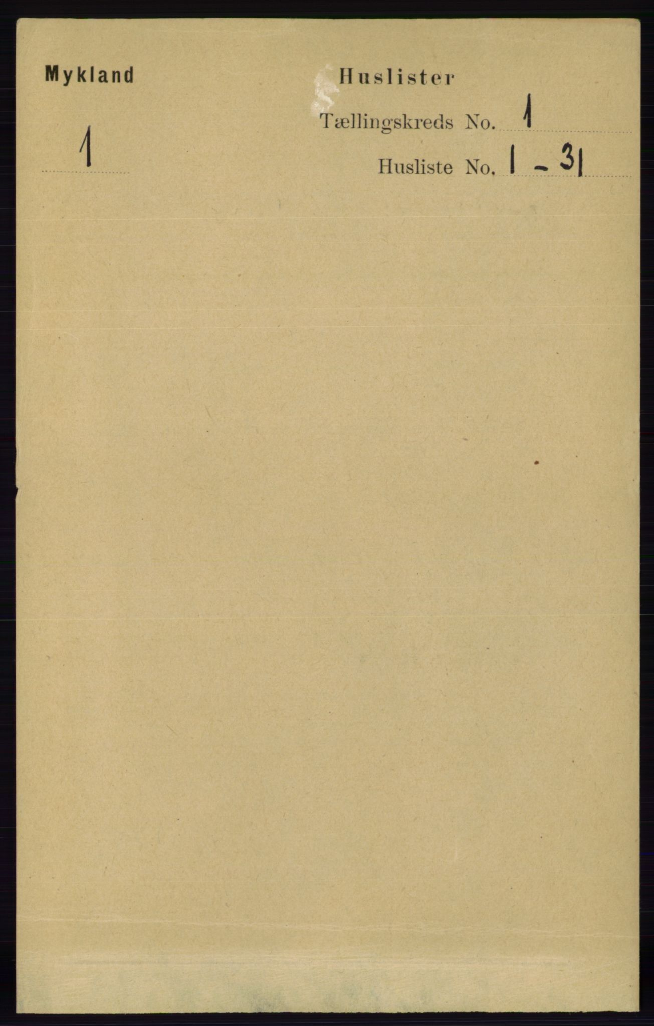 RA, Folketelling 1891 for 0932 Mykland herred, 1891, s. 11